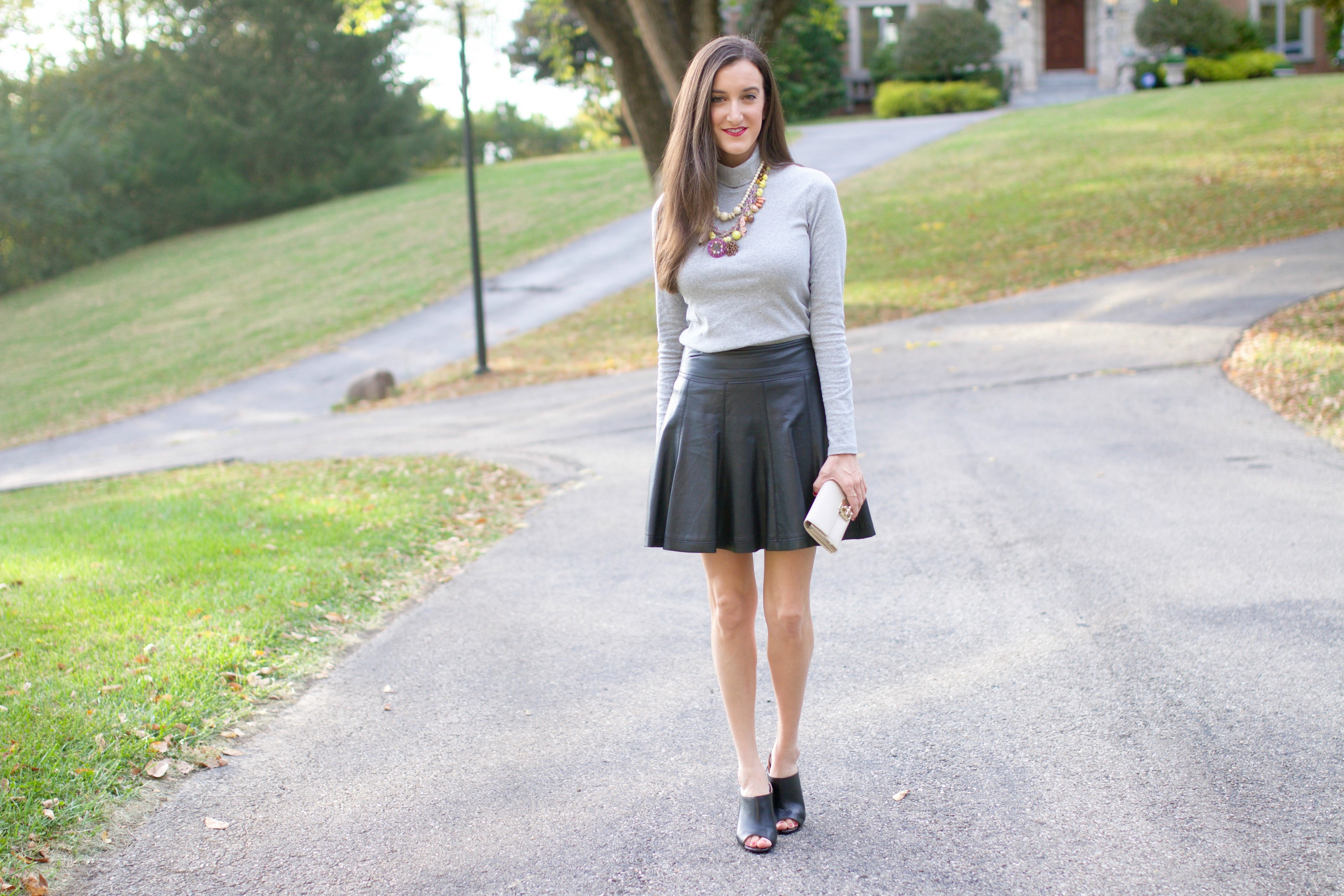 Grey Turtleneck Leather Skirt