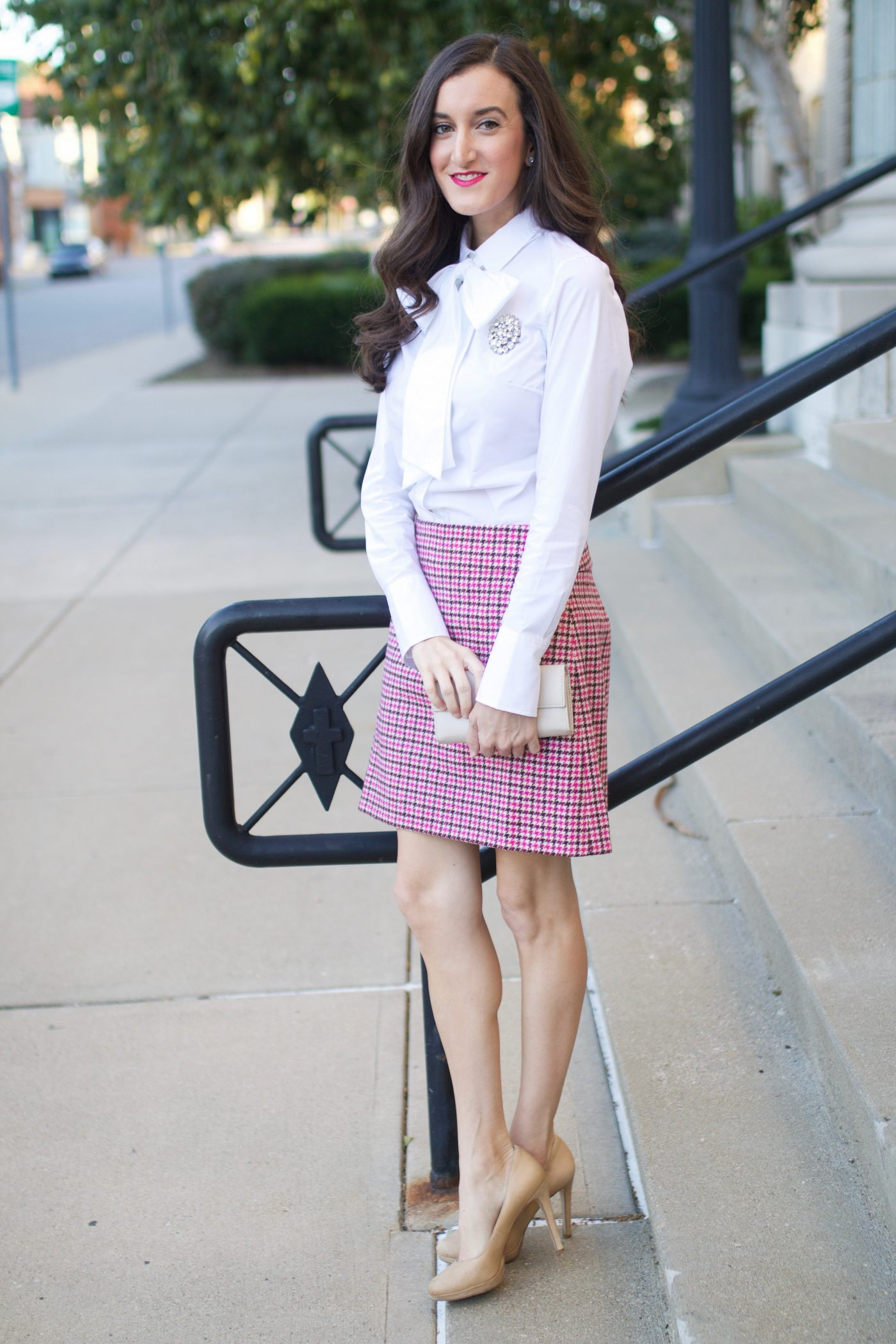 Banana Republic Bow Blouse | J.Crew Houndstooth Skirt | BCBGeneration Pumps
