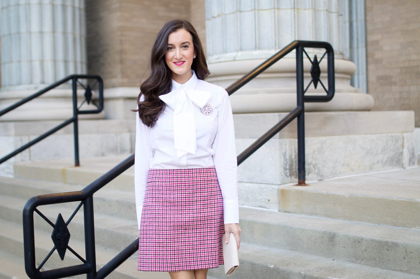 Banana Republic Bow Blouse | J.Crew Houndstooth Skirt
