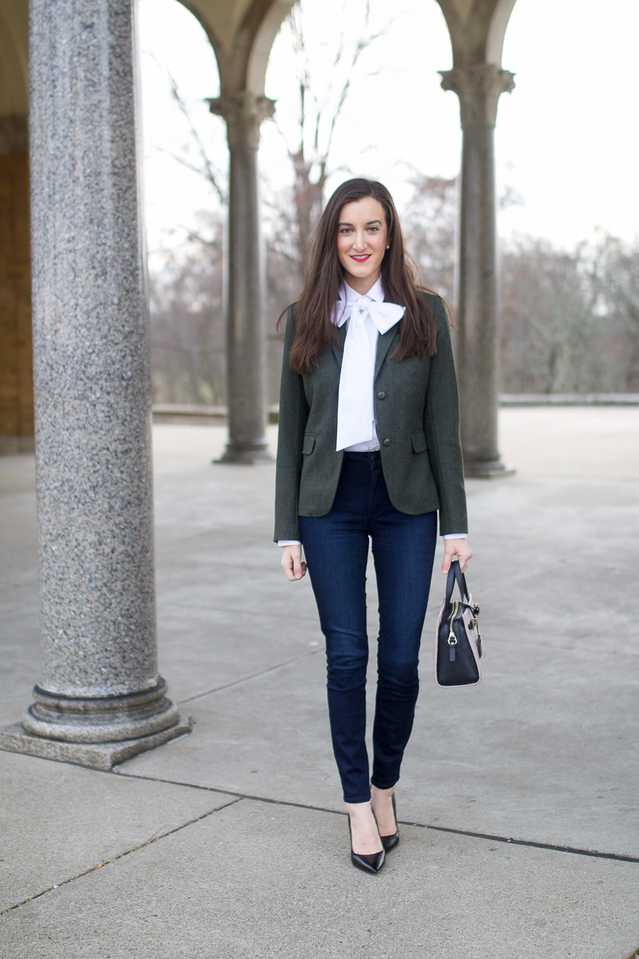 White Bow Blouse with Blazer