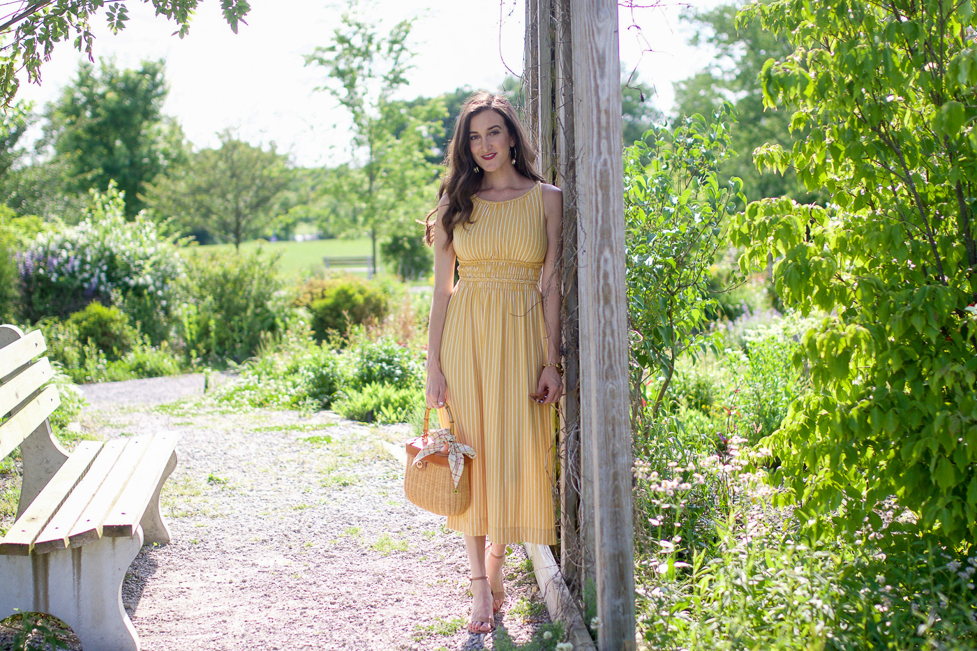 Striped Yellow Midi Dress