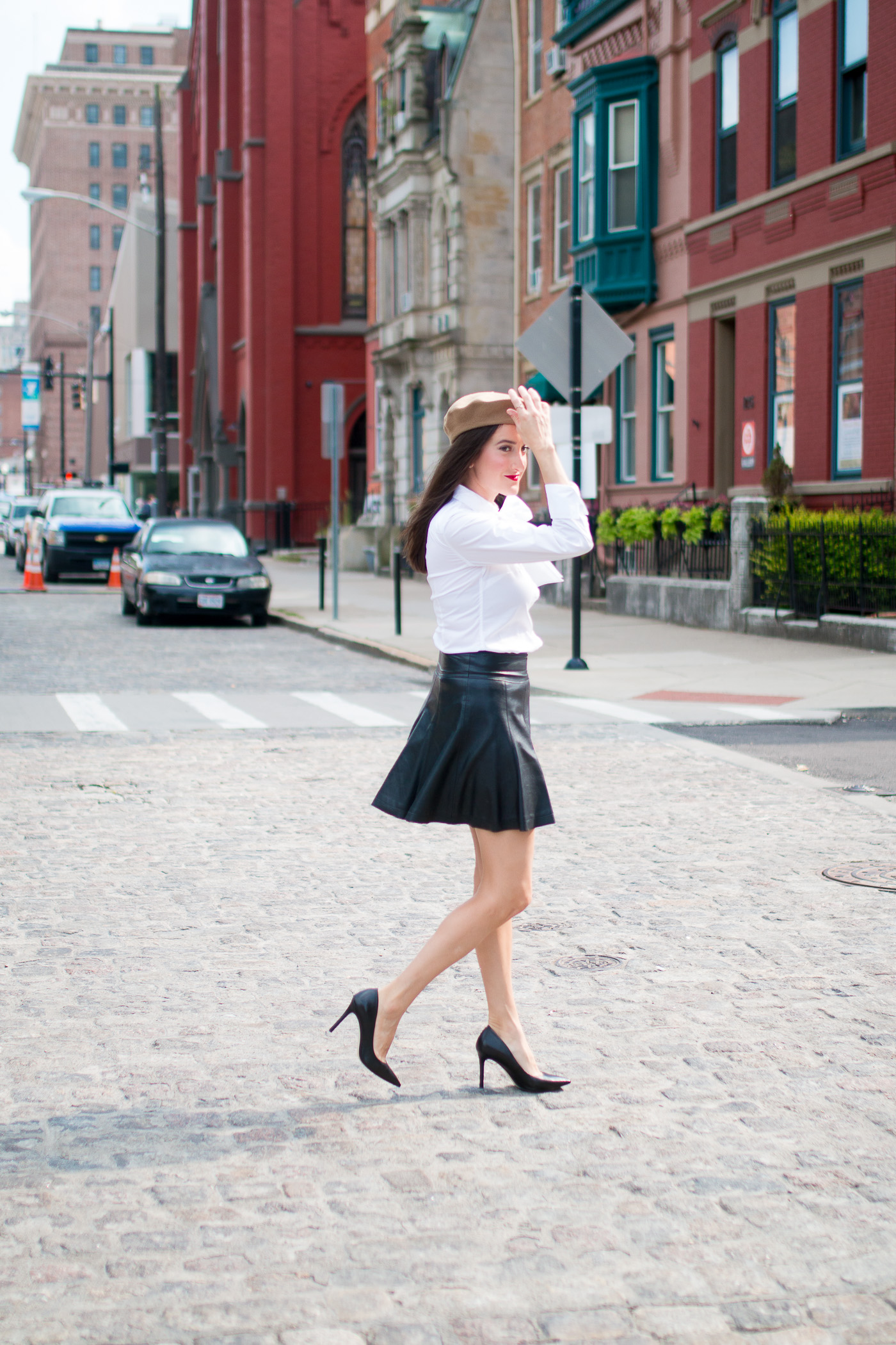 Pleated Leather Skirt Outfit