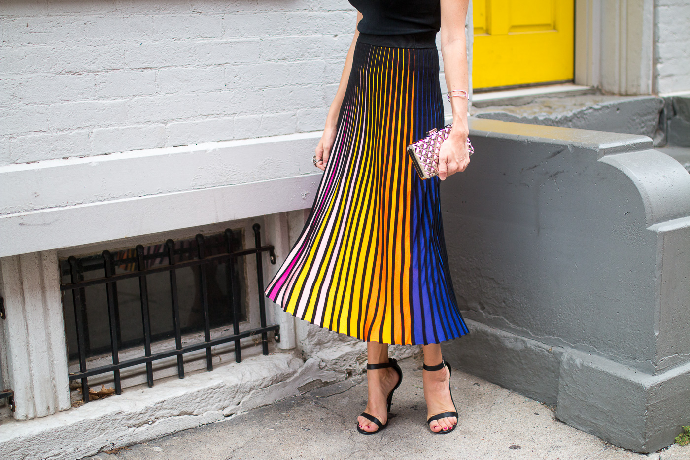 colorful midi skirt