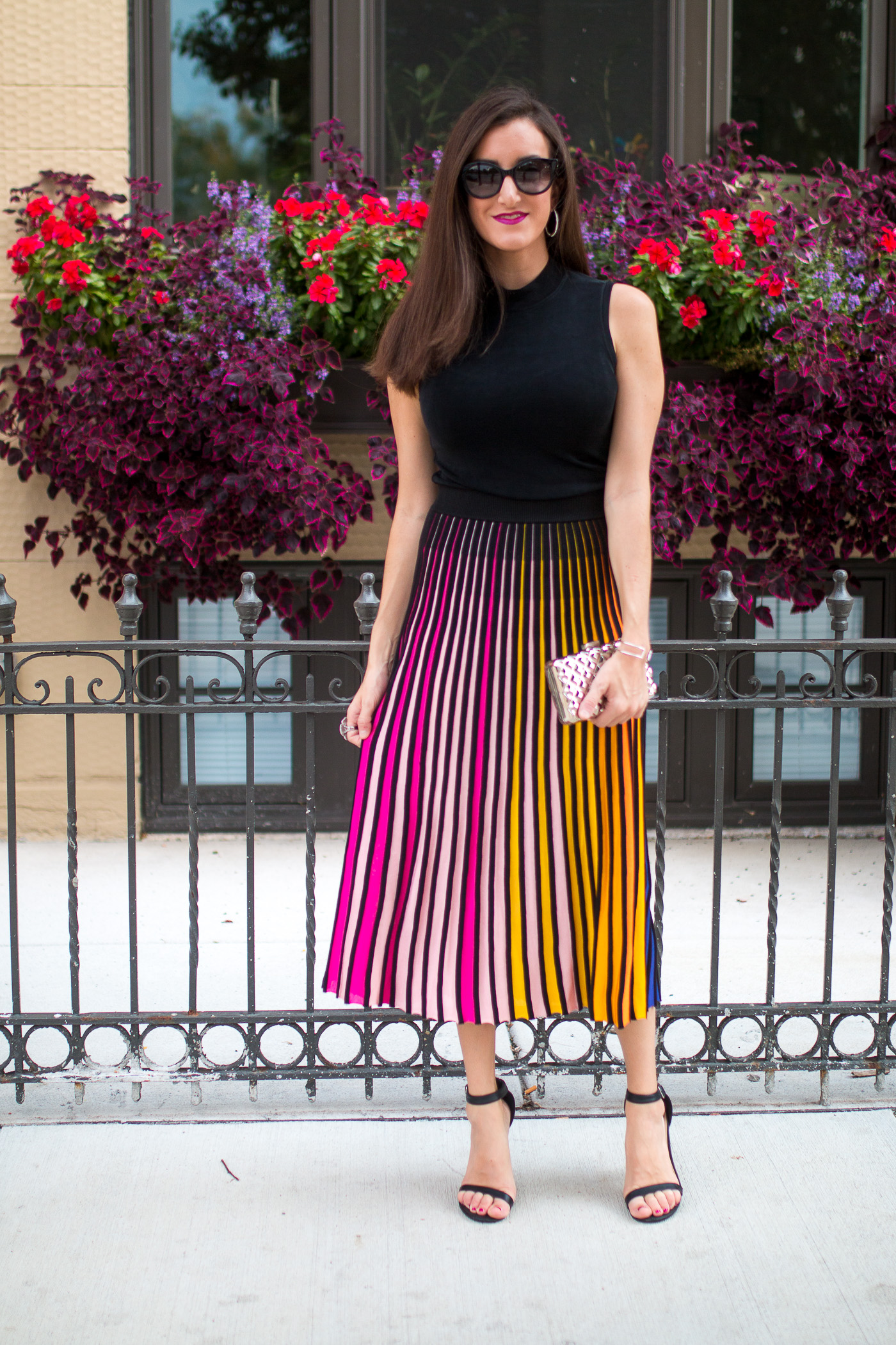 rainbow striped midi skirt
