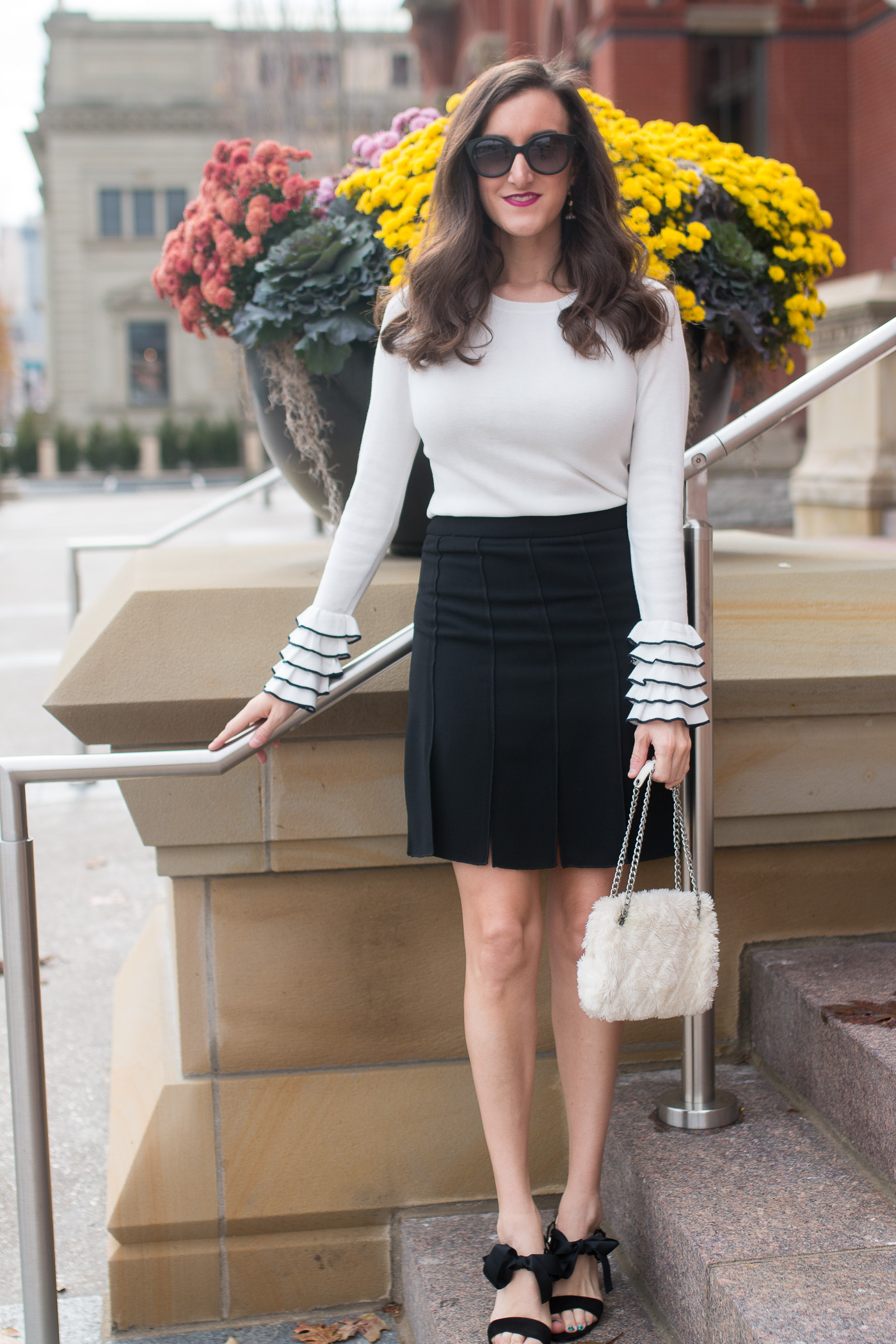 White Ruffled Sweater