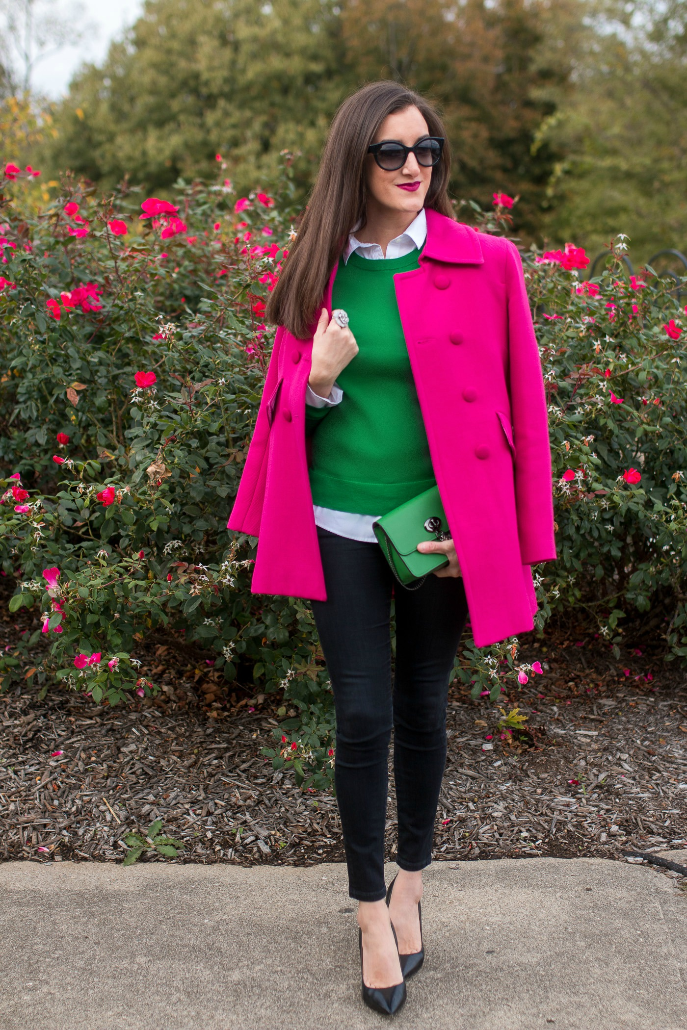 Hot Pink Coat with green Sweater
