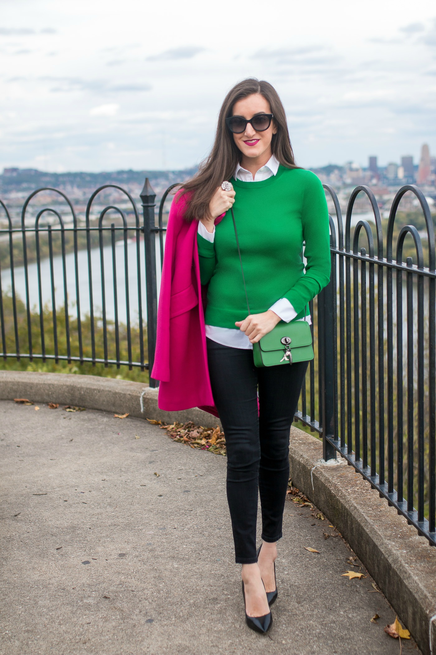 Green Sweater with Pink Coat