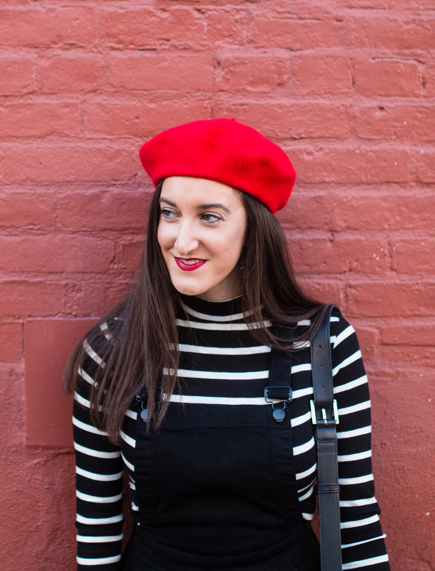 Striped Turtleneck with Red Beret