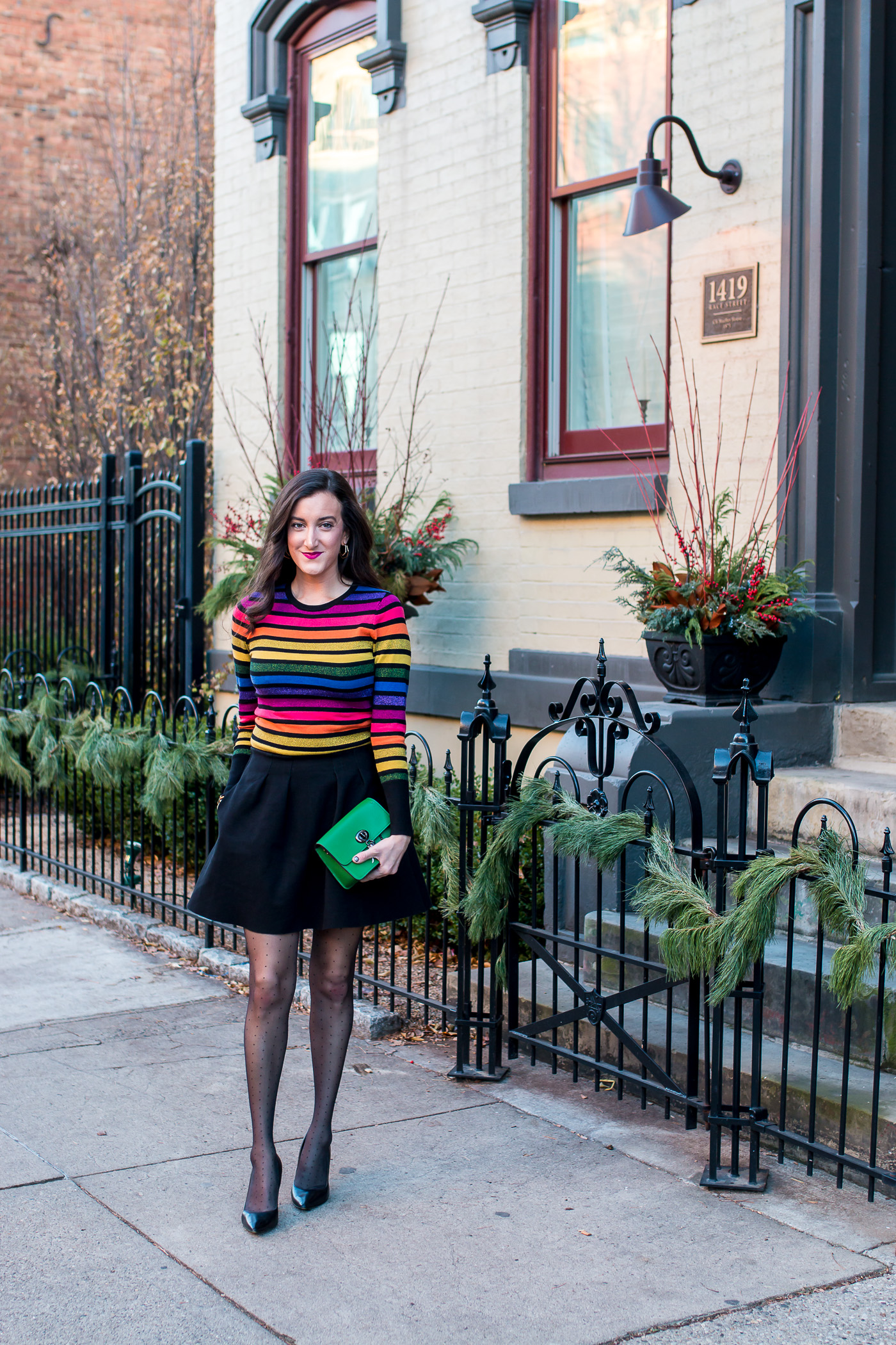 How to wear a rainbow striped sweater