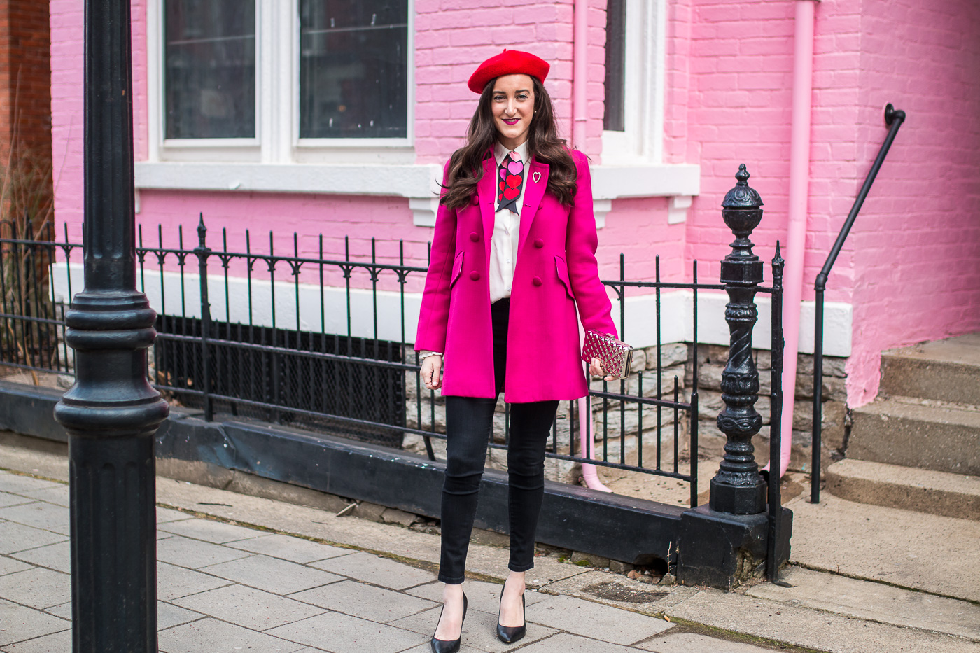 Hot Pink Coat Red Beret