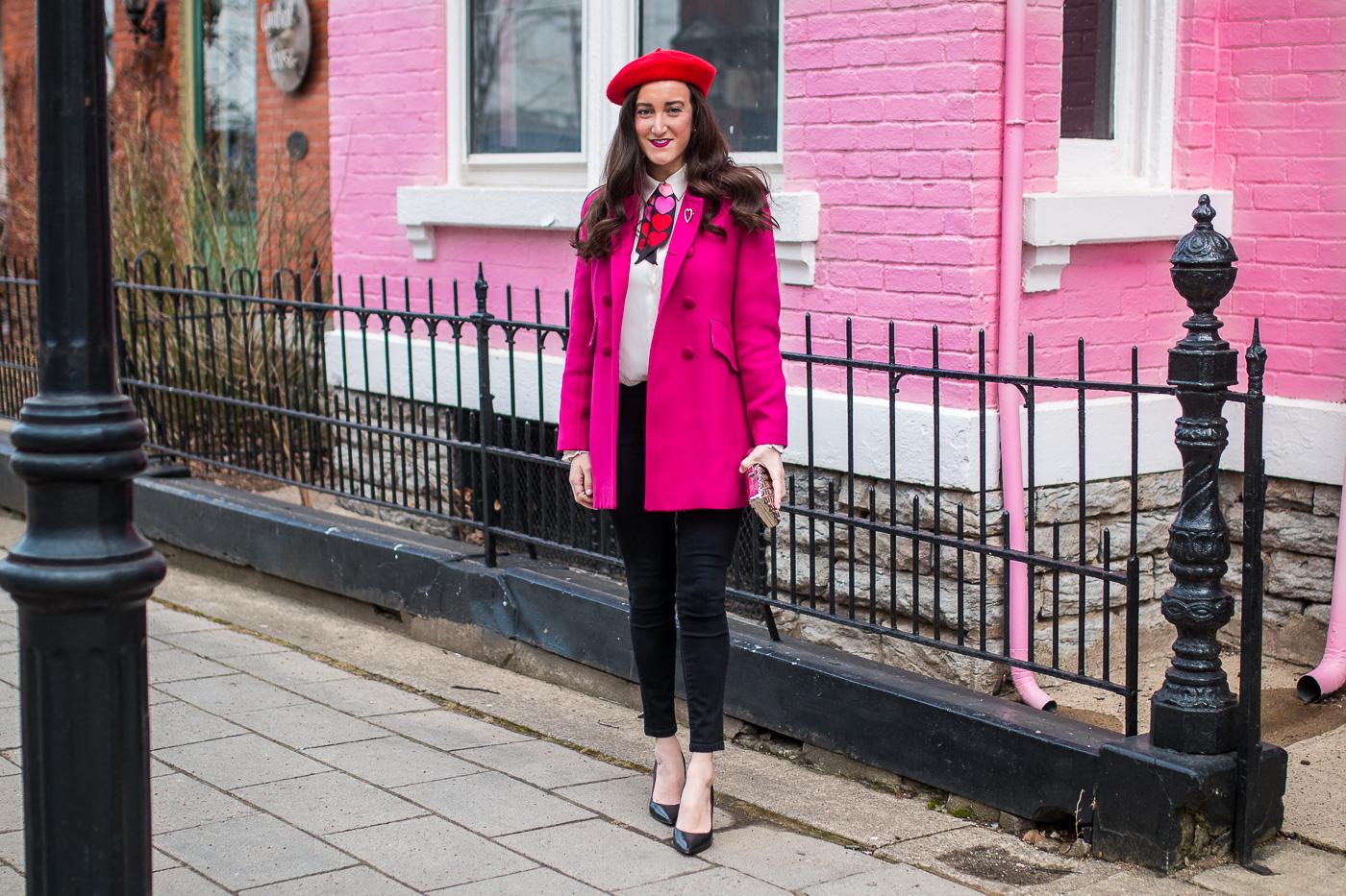 Red Beret pink coat