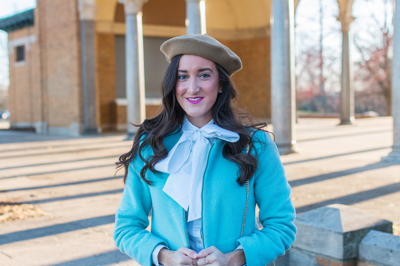 Bow Blouse with Beret