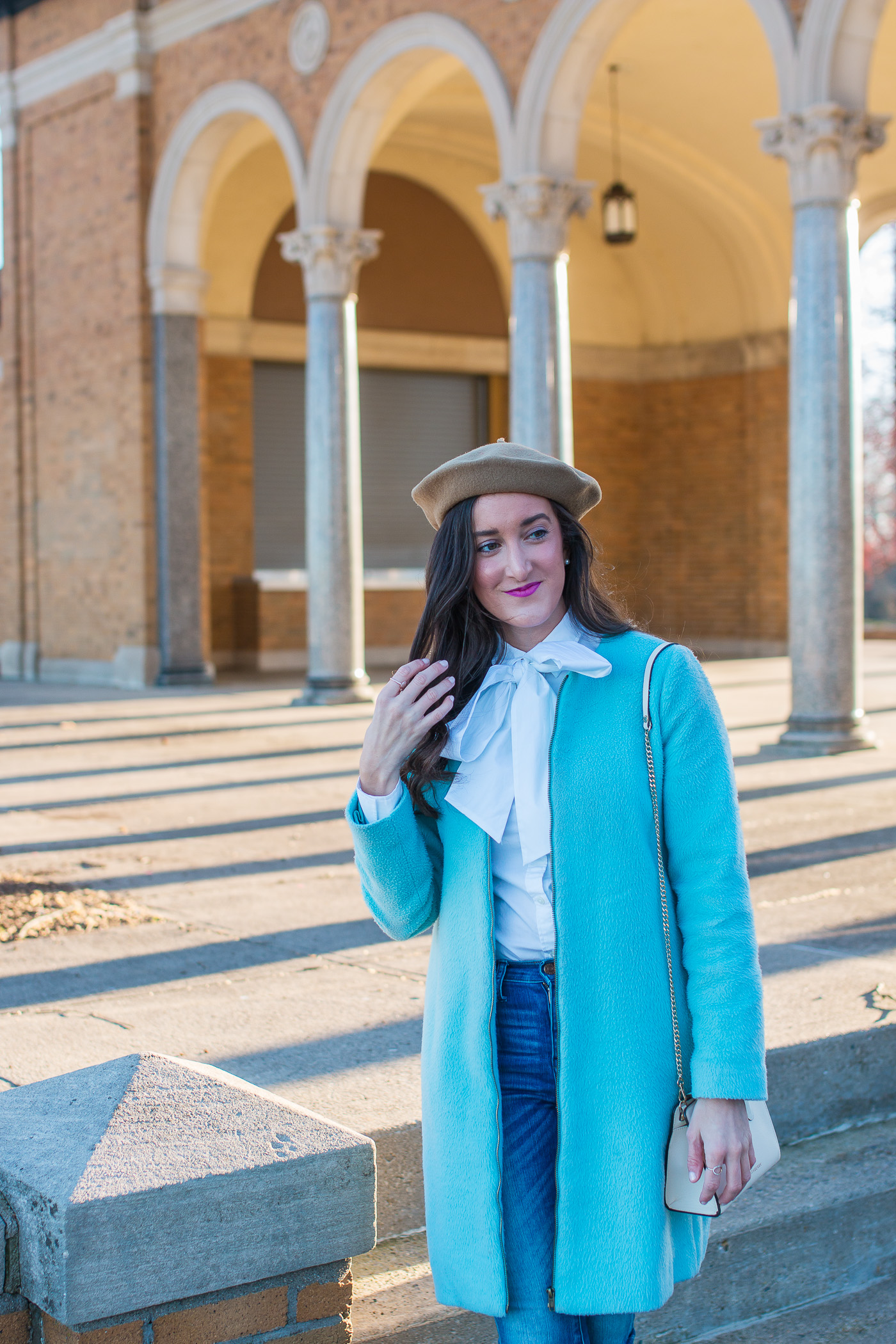 Bow Blouse with Blue Coat