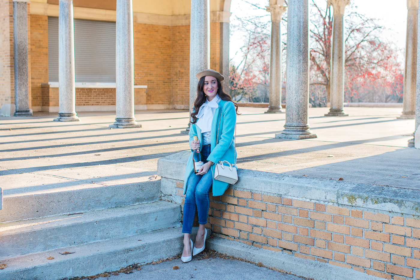 White Heels with Baby Blue Coat
