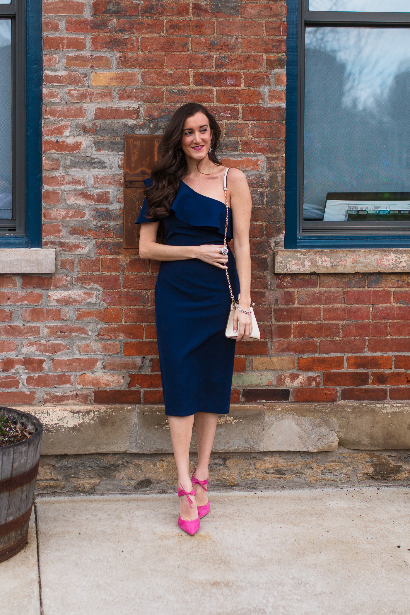 One Shoulder Navy Dress