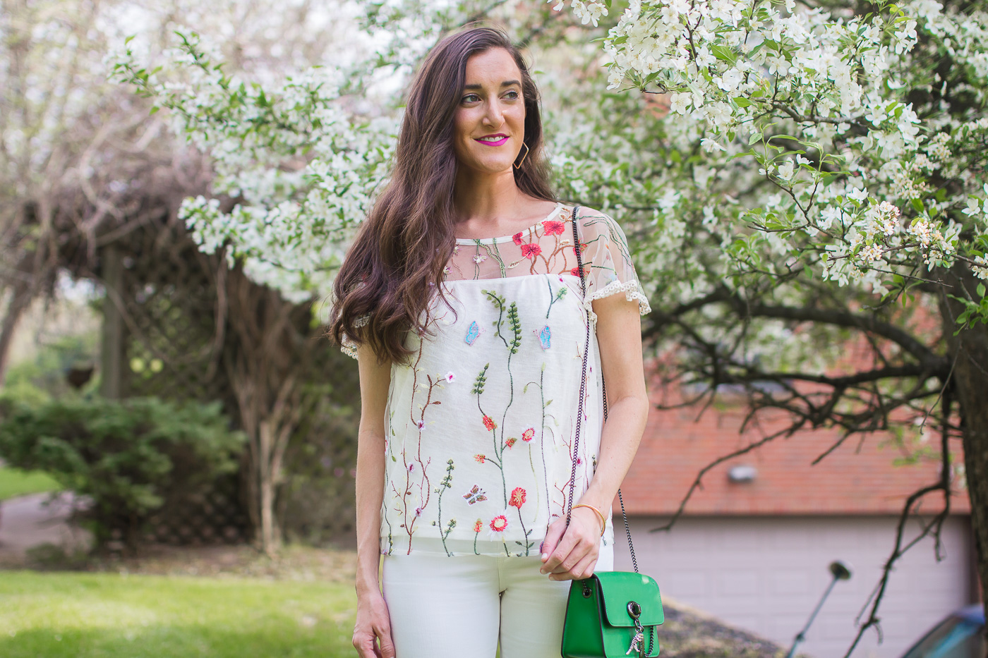 Anthropologie Embroidered Floral Top