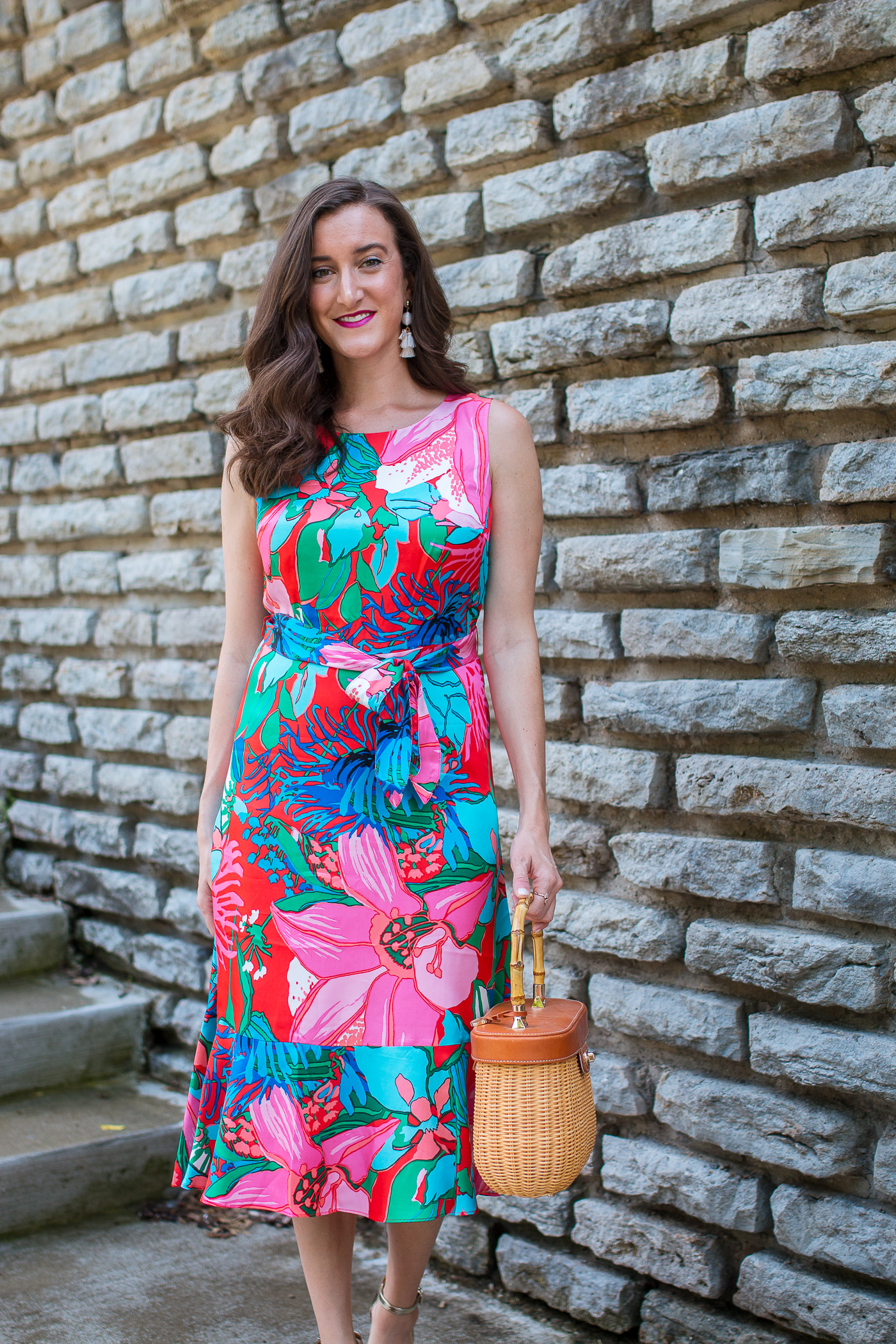 Floral Dress with Wicker Handbag