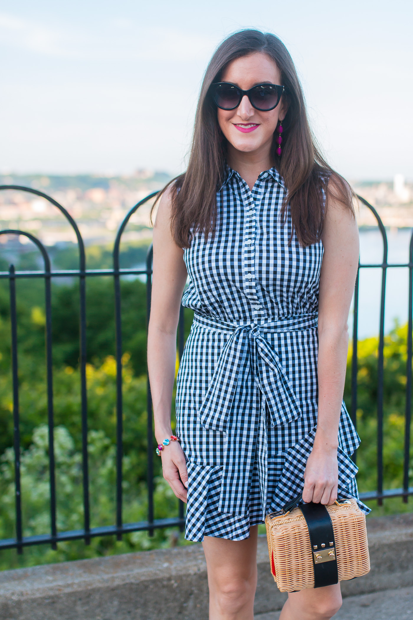 Gingham Tie Waist Ruffled Shirt Dress