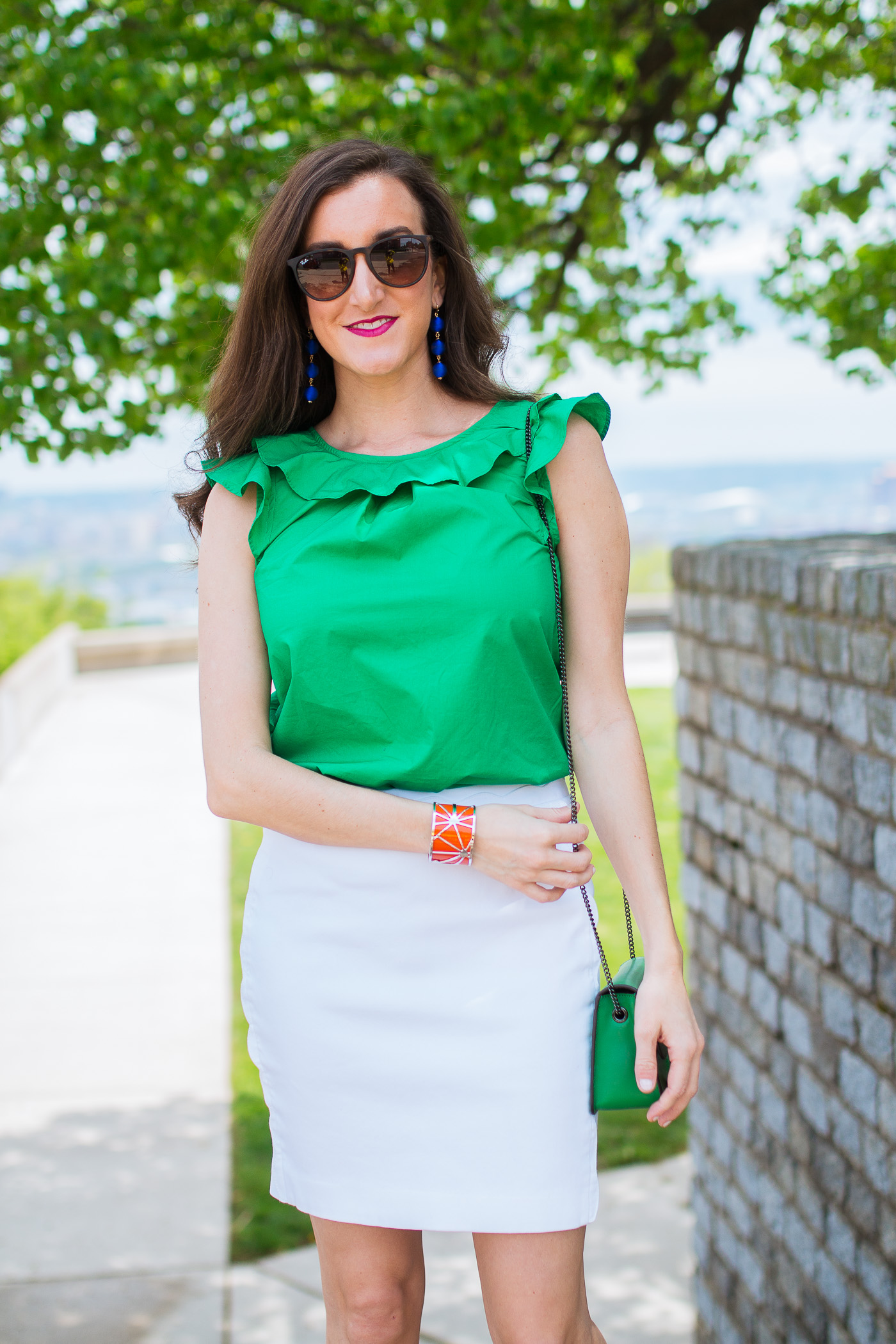 Green Ruffle Top Jcrew