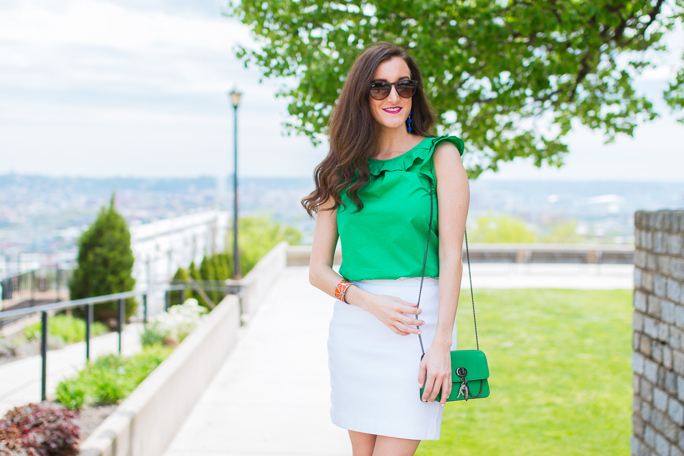 White skirt Green Top