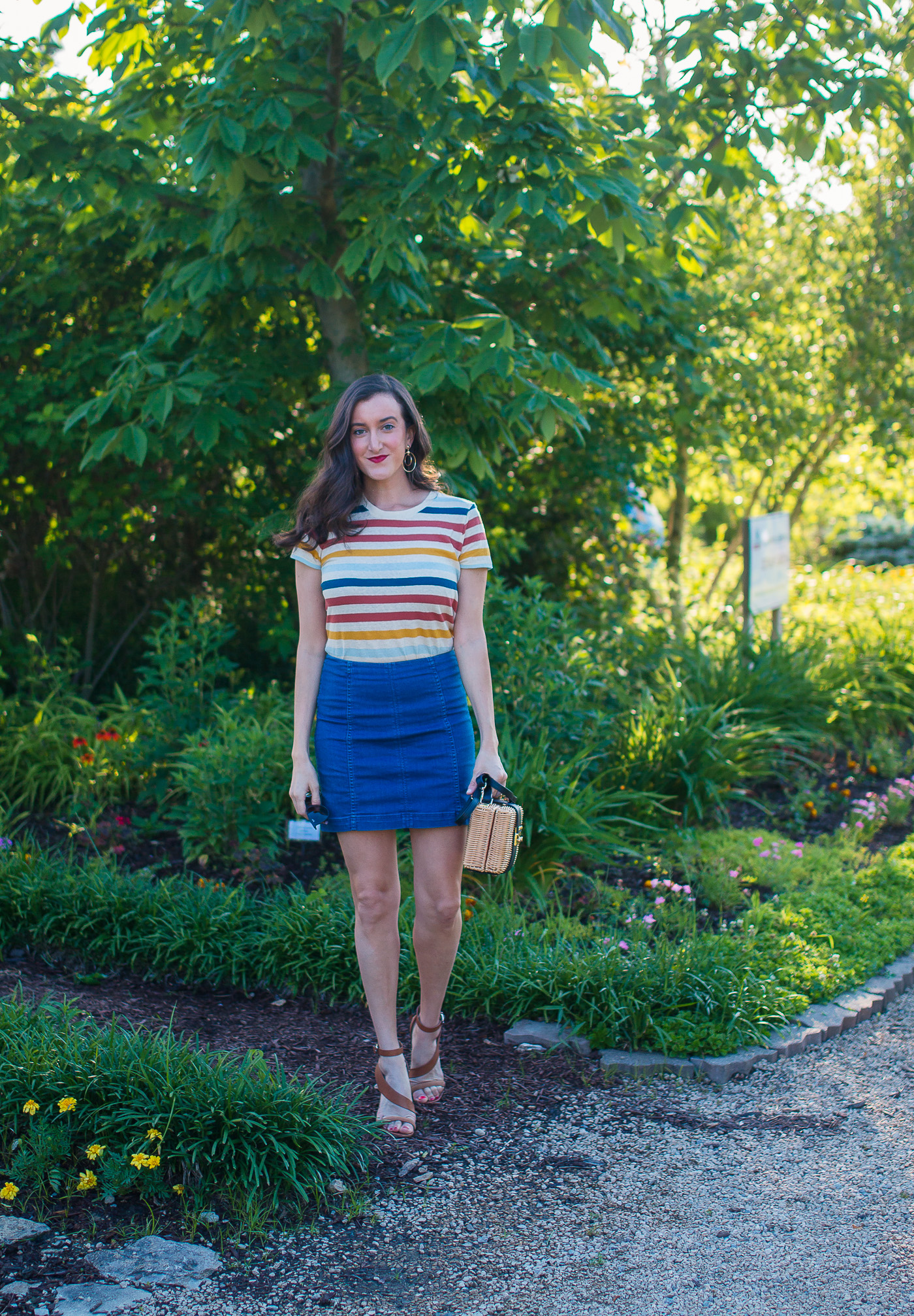 Denim Mini Skirt Striped Tee