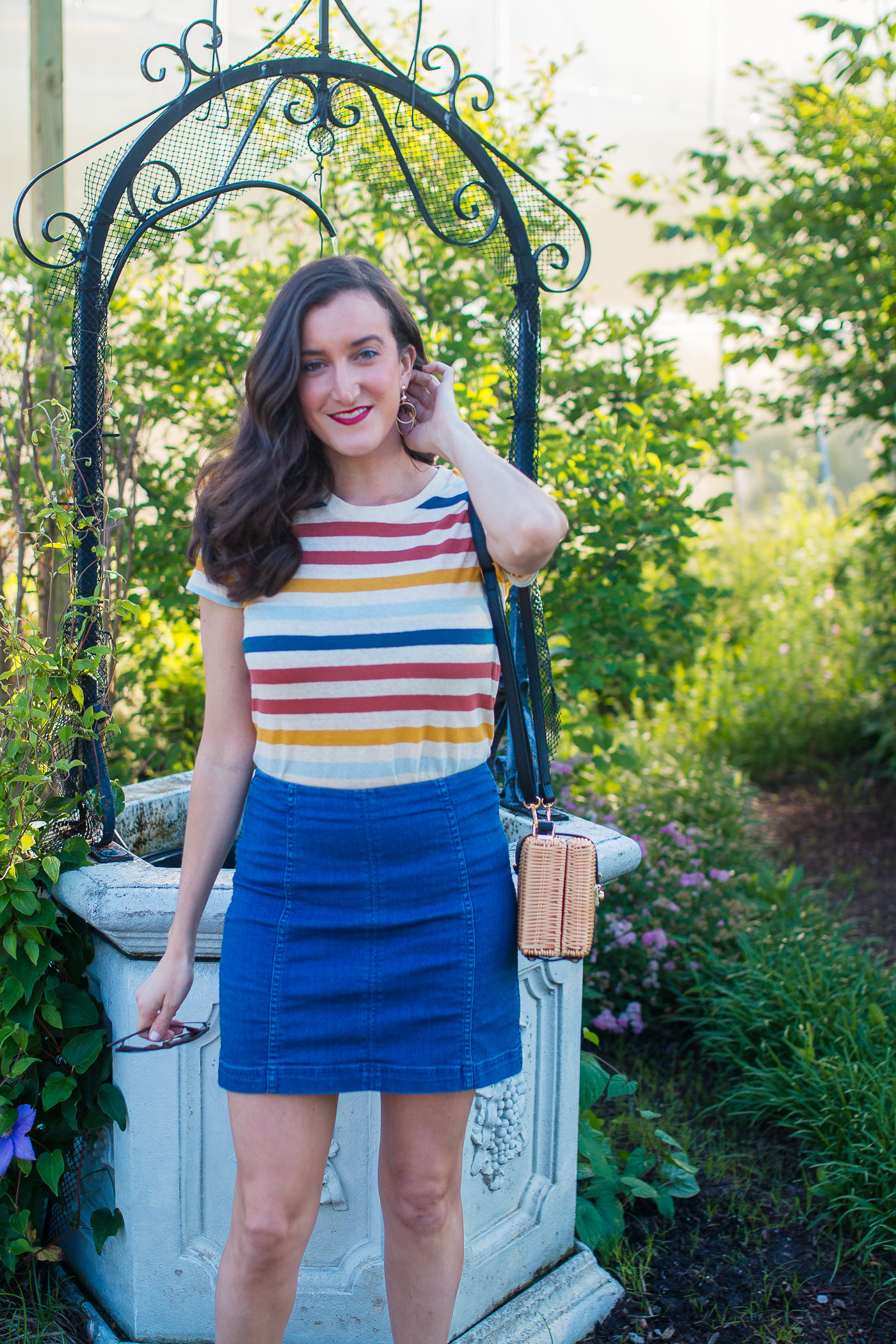 Striped Tee Denim Skirt