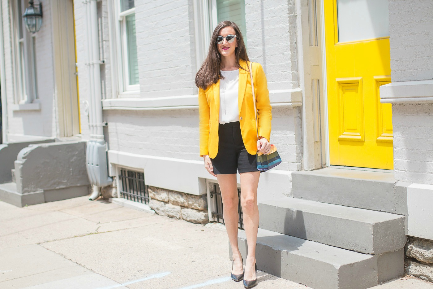 Yellow Blazer Black Shorts