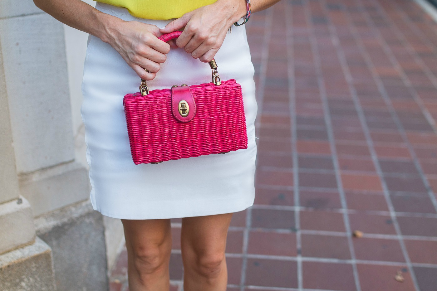 Pink Wicker Handbag