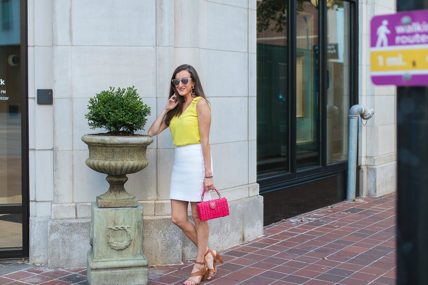 Yellow Top White Skirt