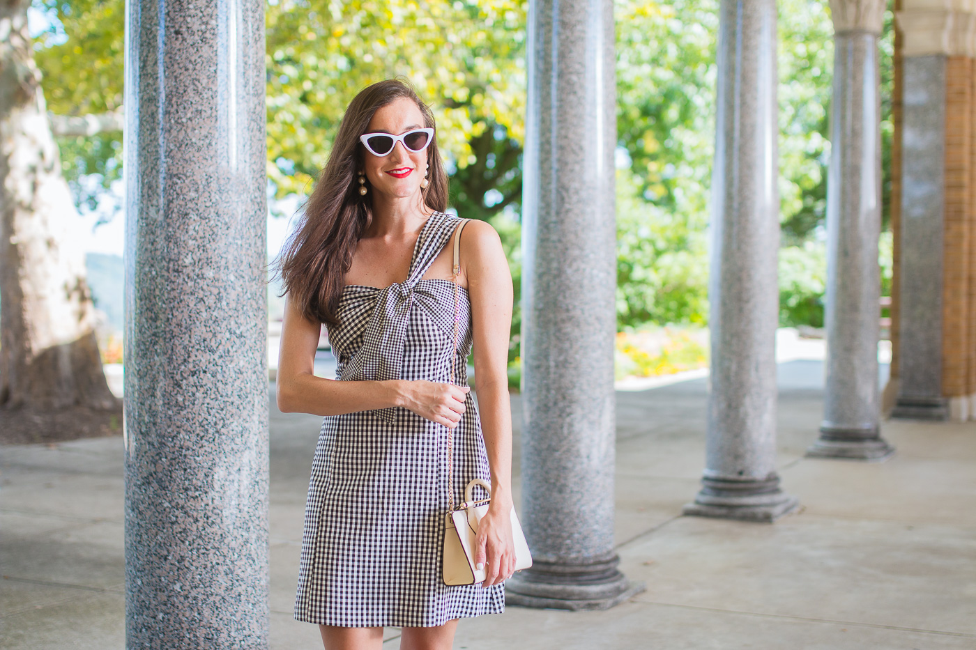 Gingham One Shoulder Dress