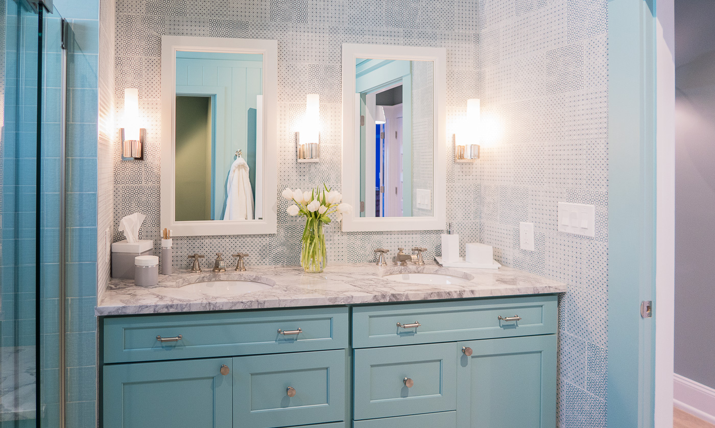 Blue Cabinets Marble Countertops