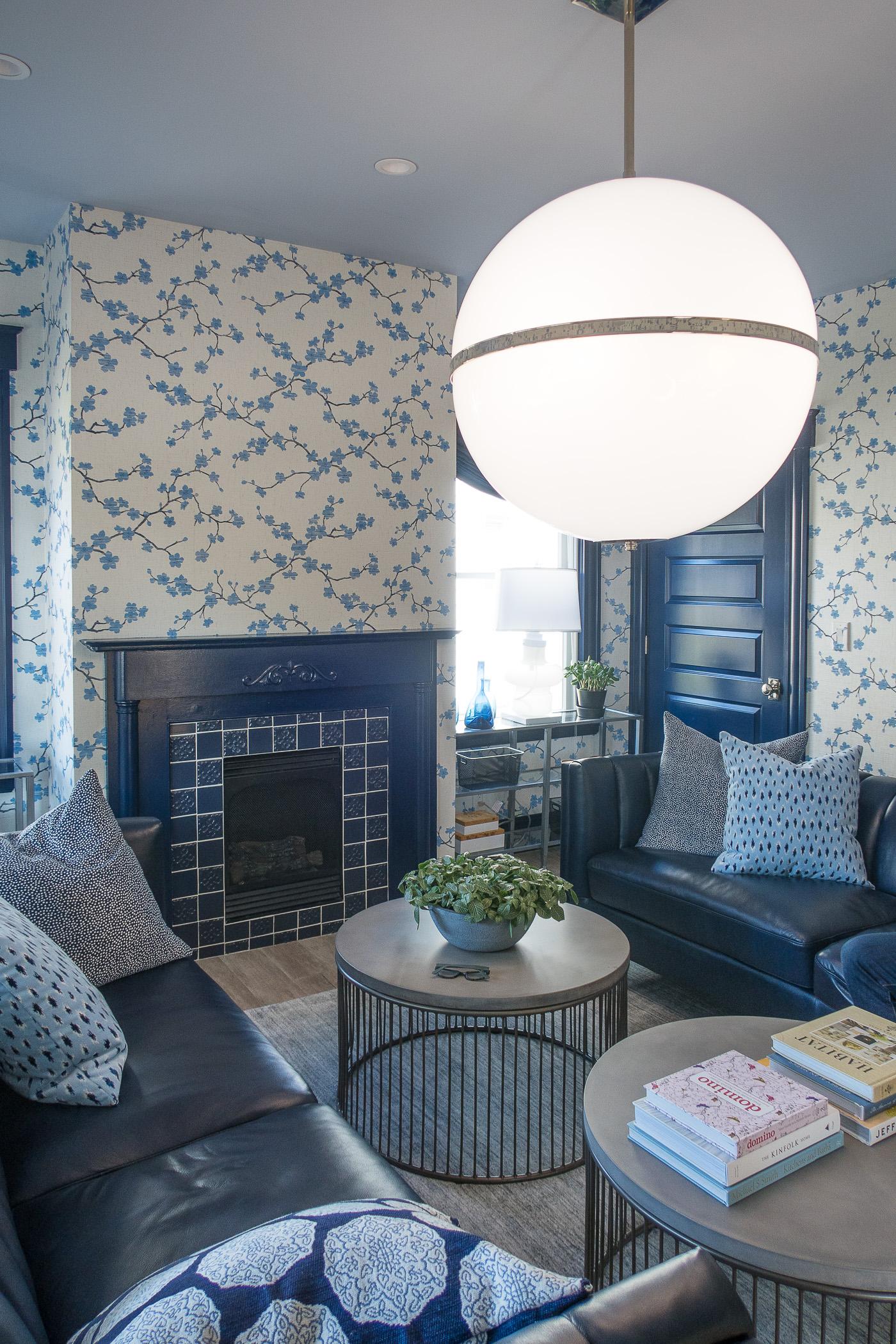 Feminine Blue and White Living Room
