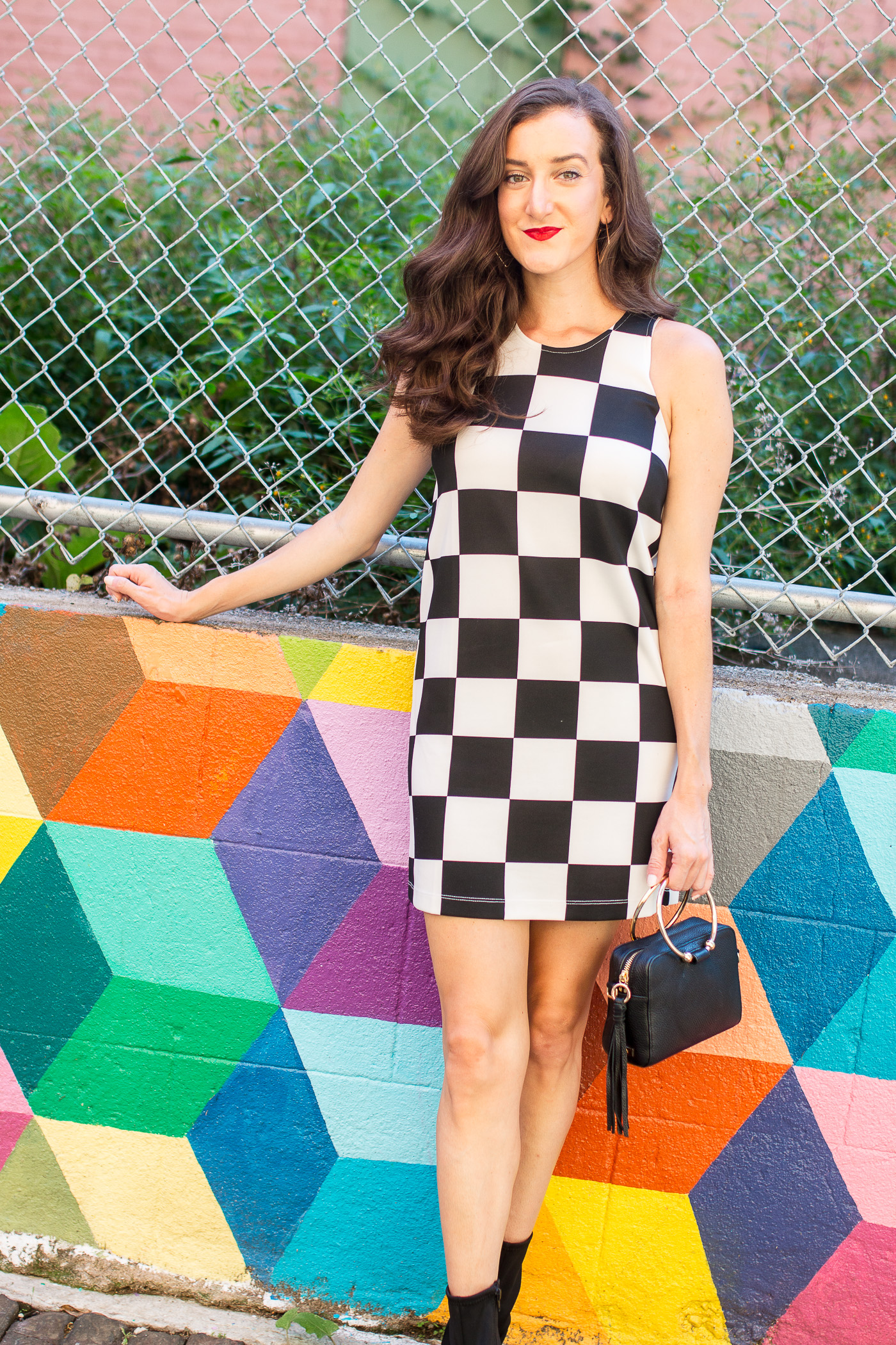 Checkered Dress on Fashion Blogger Baubles to Bubbles