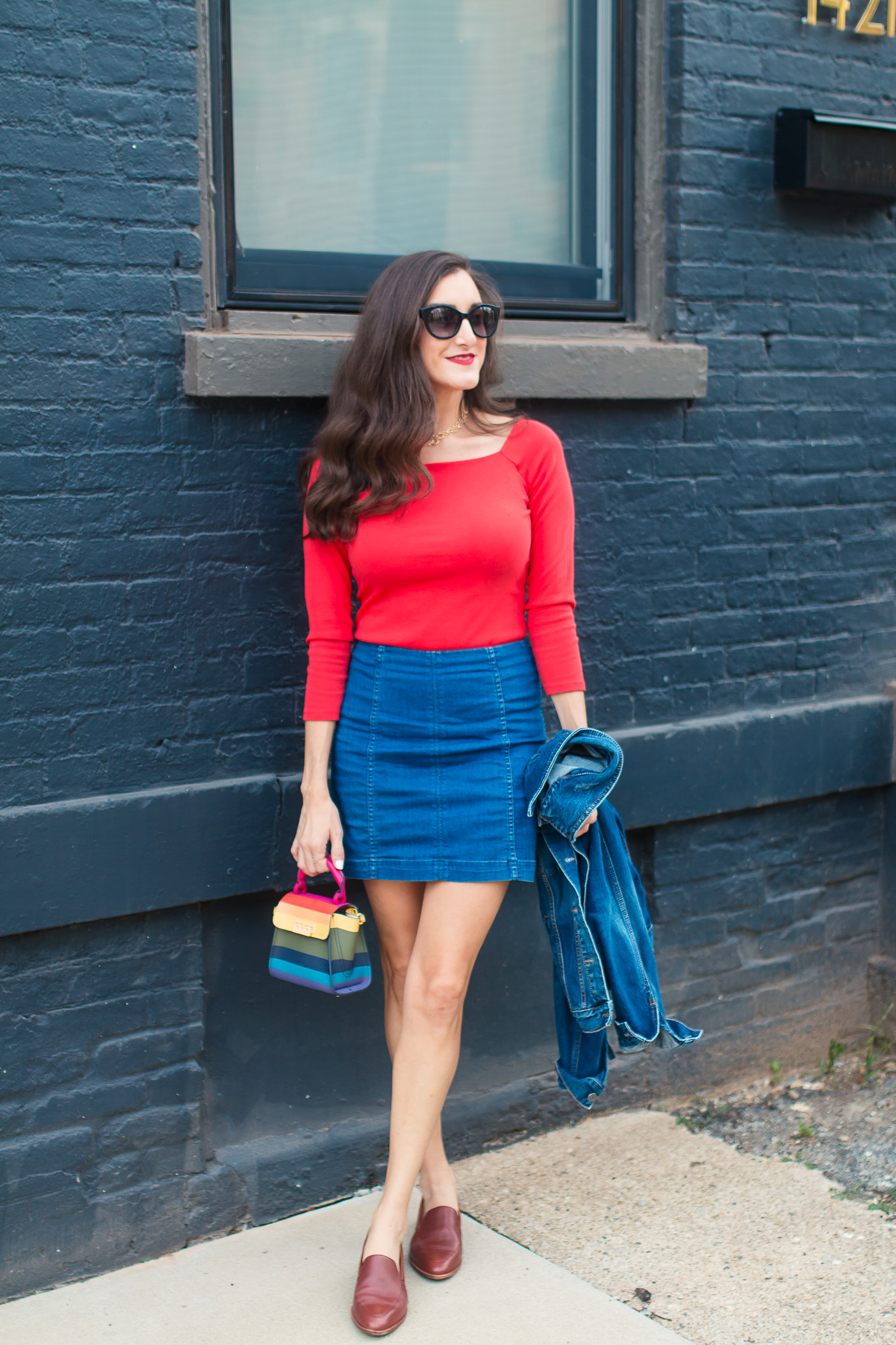 Fashion Blogger Baubles to Bubbles wearing Denim Skirt