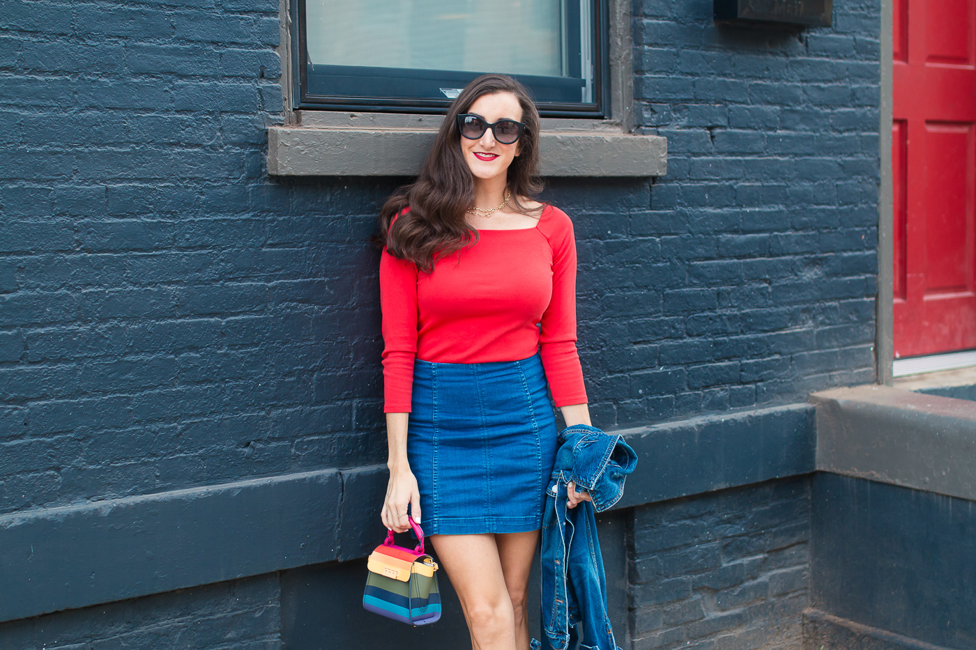 Cincinnati Blogger wearing Denim Skirt