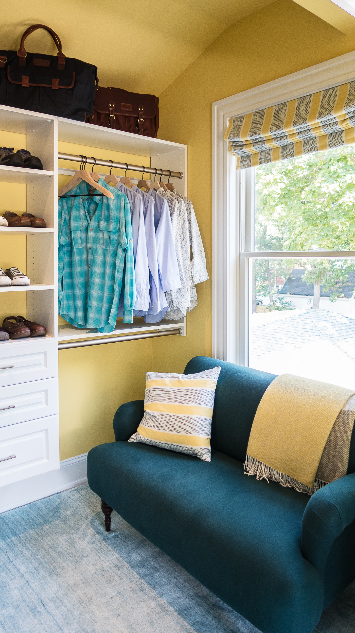 Master Closet with Yellow Walls