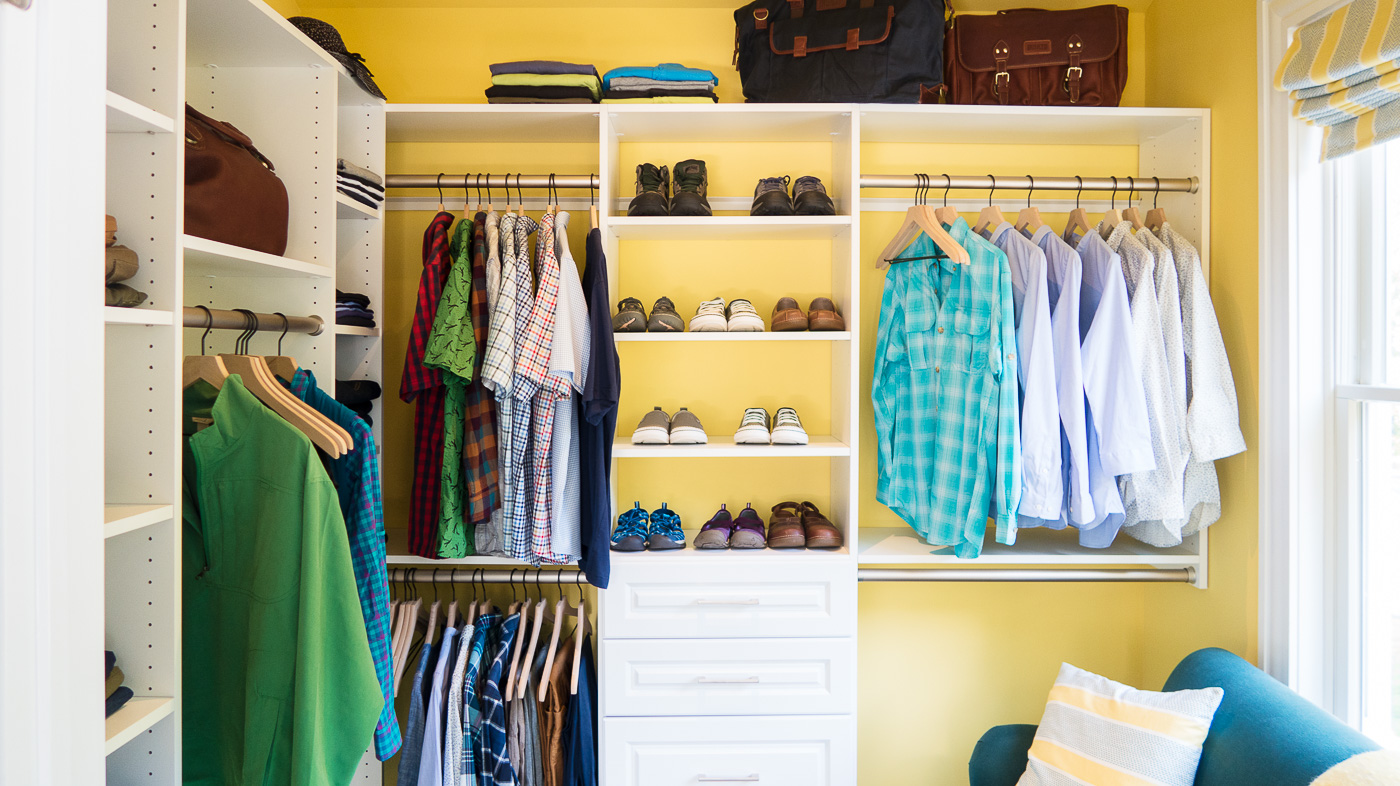 Walk In Closet with Yellow Walls