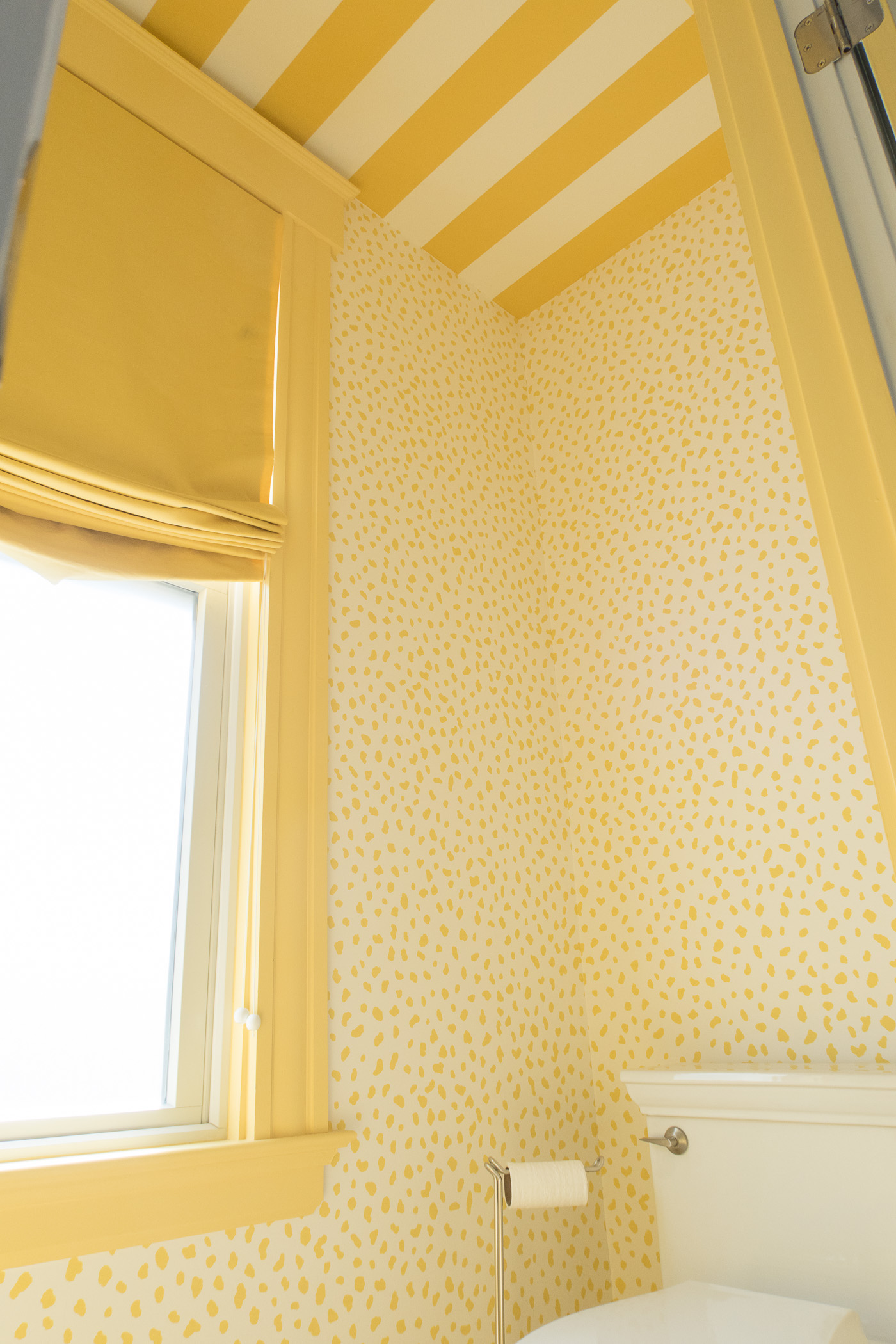 Yellow and White Whimsical Bathroom