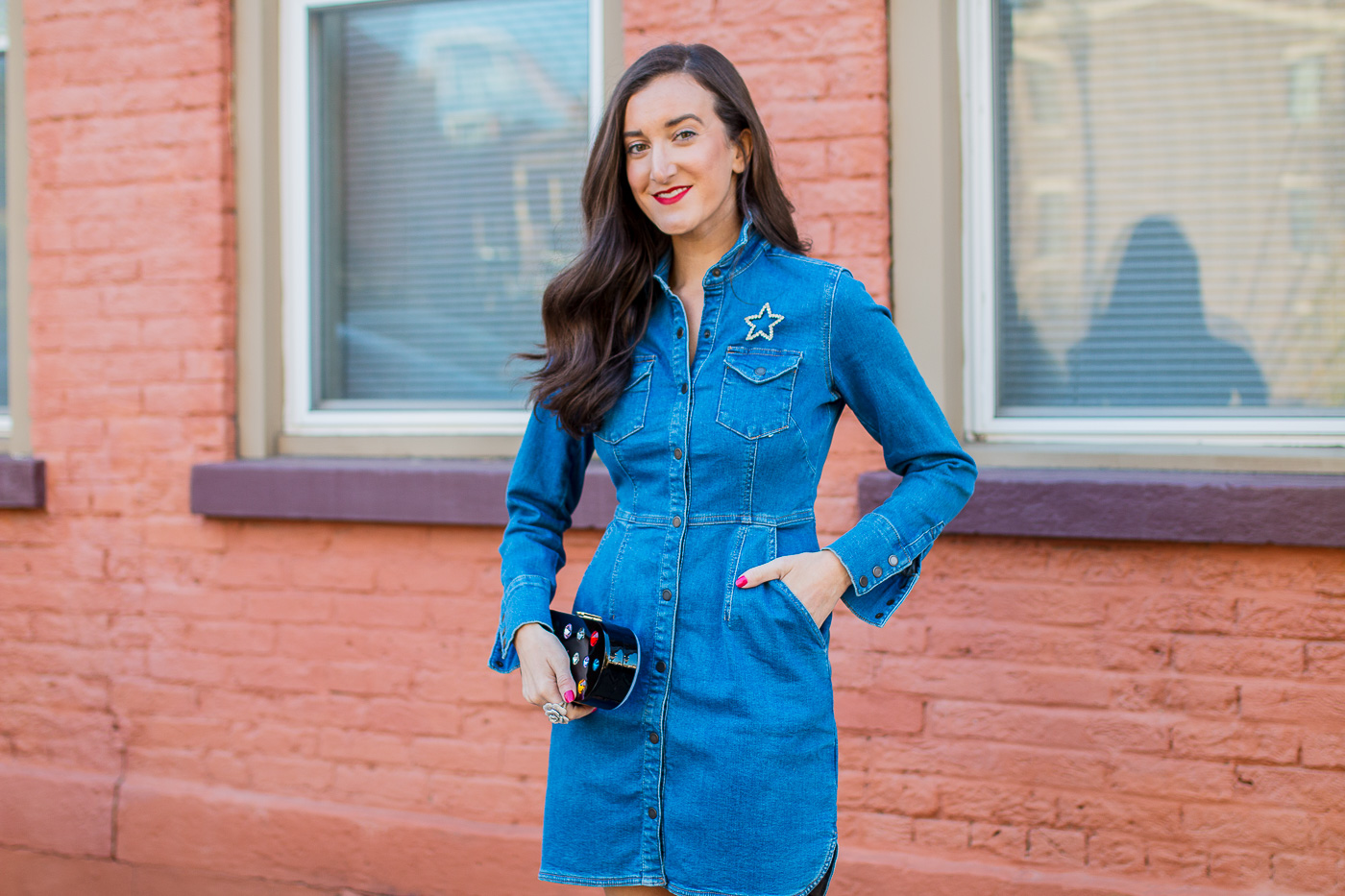 Cincinnati Fashion Blogger Baubles to Bubbles wearing Denim Dress