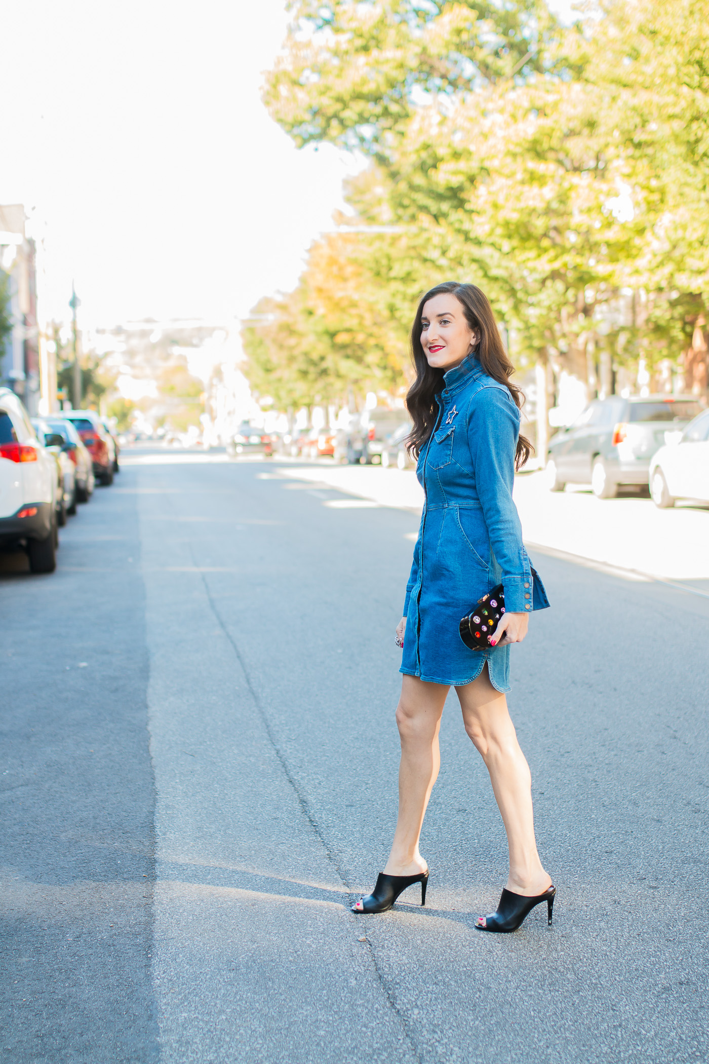 Denim Dress Outfit Ideas, Baubles to Bubbles Cincinnati Fashion Blog