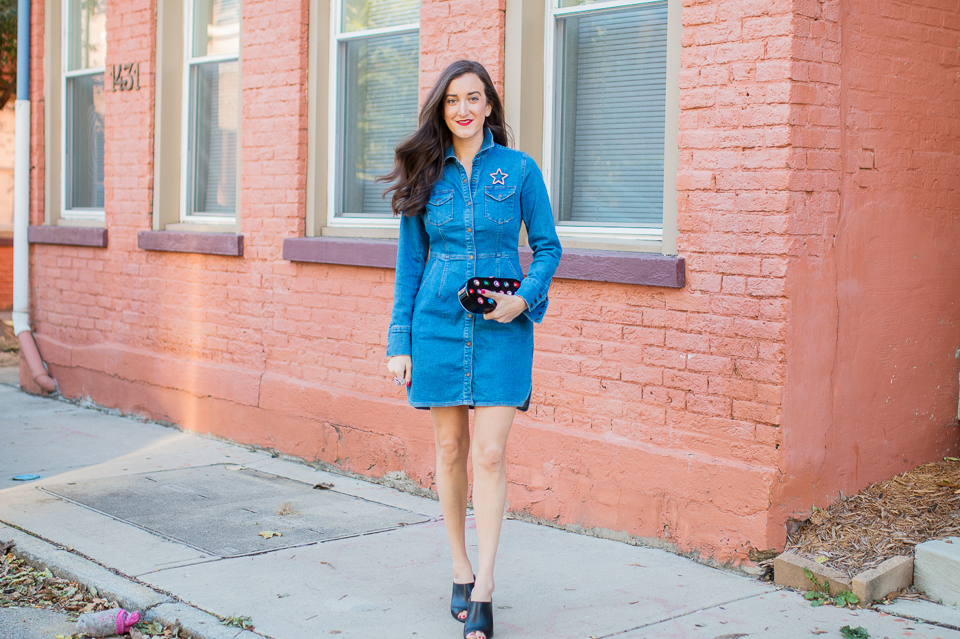 Free People Denim Dress Olivia Johnson Baubles to Bubbles