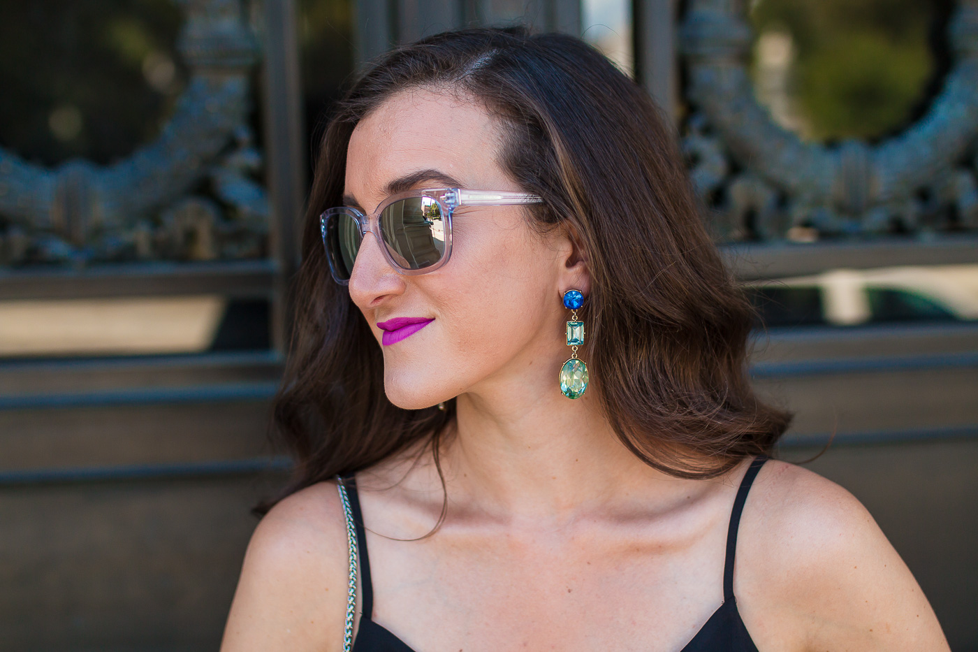 Green and Blue Statement Earrings on Fashion Blogger Baubles to Bubbles