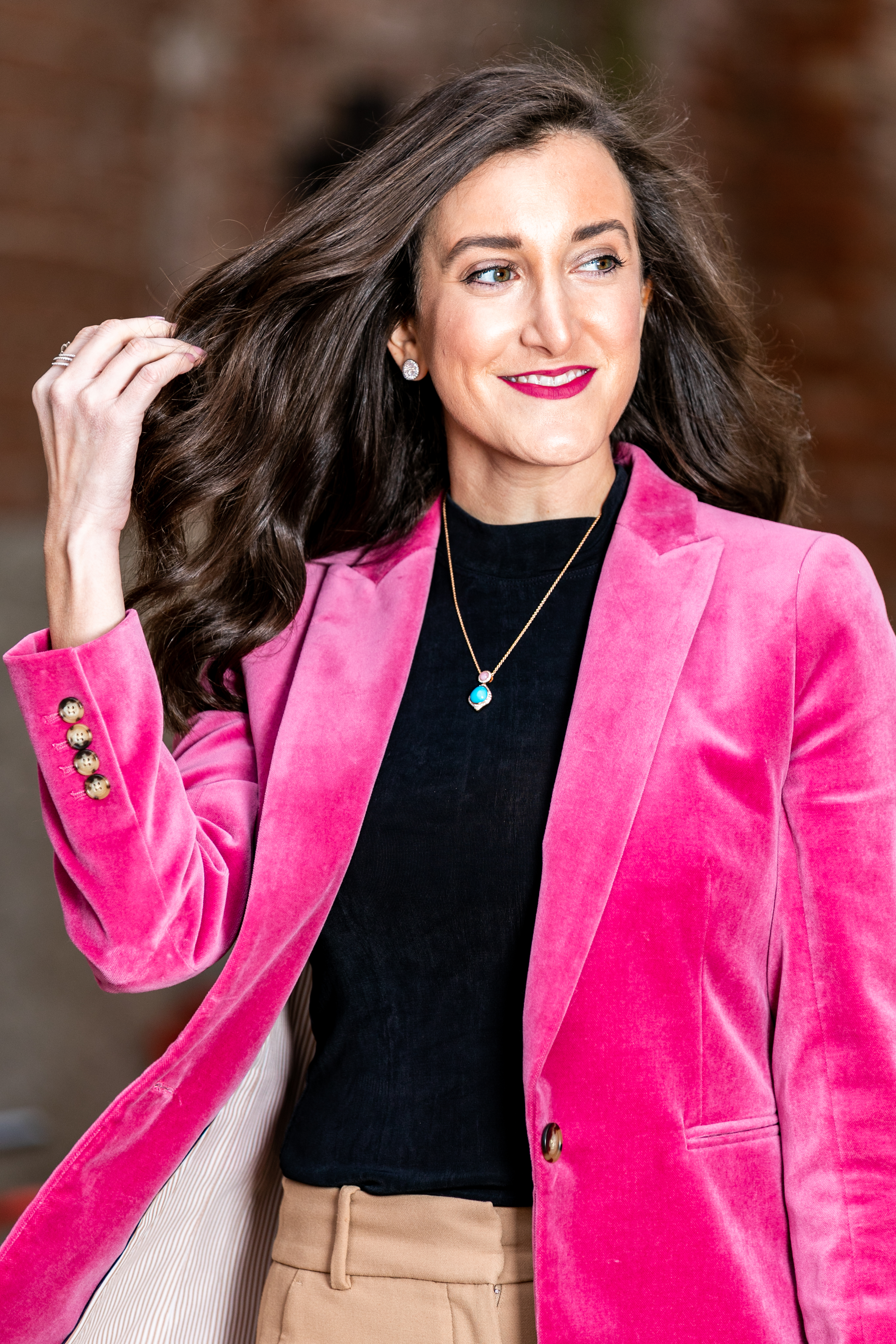 Pink Velvet JCrew Blazer Cincinnati Fashion Blogger Olivia Johnson of Baubles to Bubbles