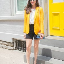 Yellow Blazer + Rainbow Bag