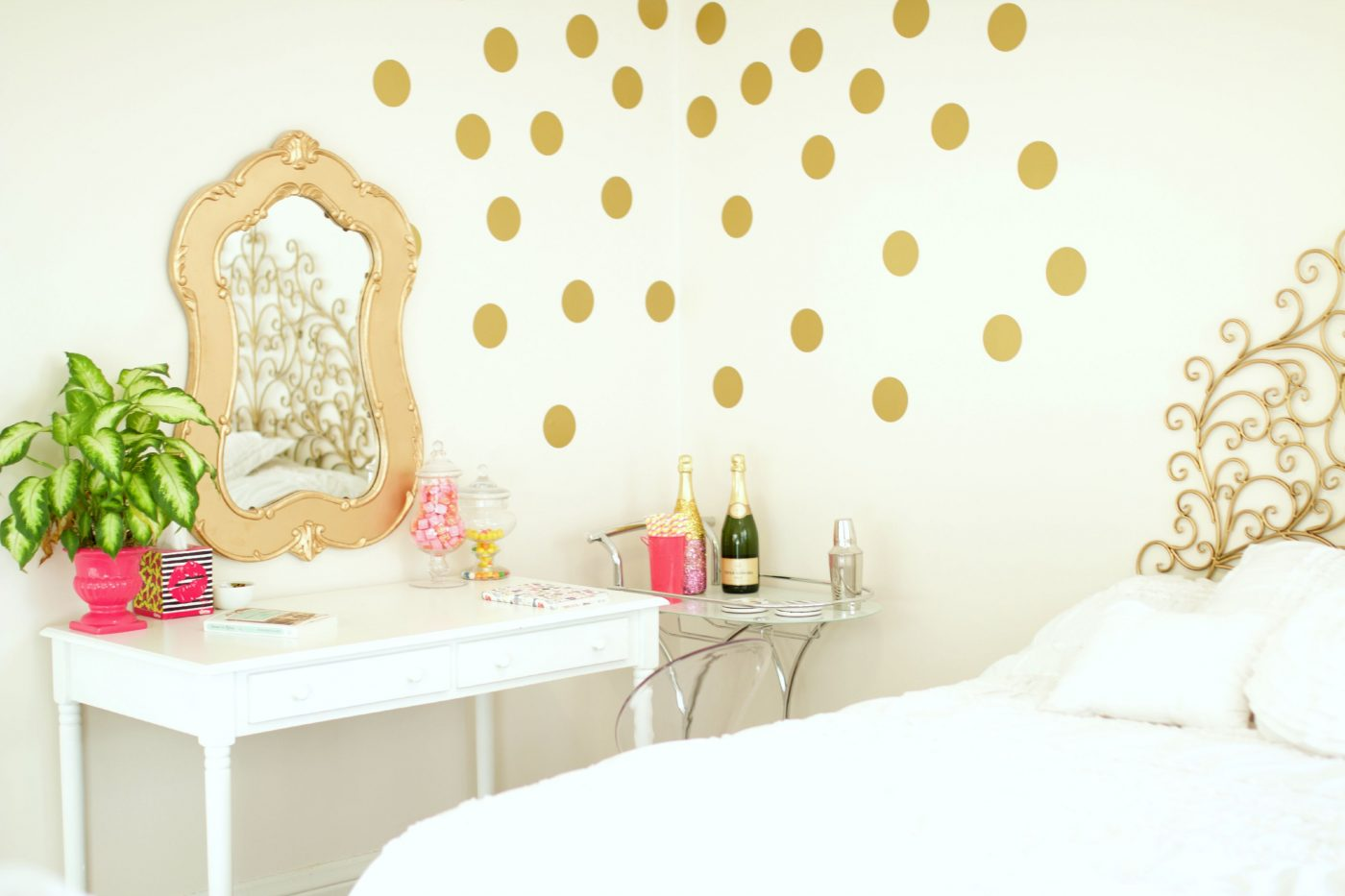 bedroom inspiration baubles to bubbles 11702 | gold and white bedroom decor