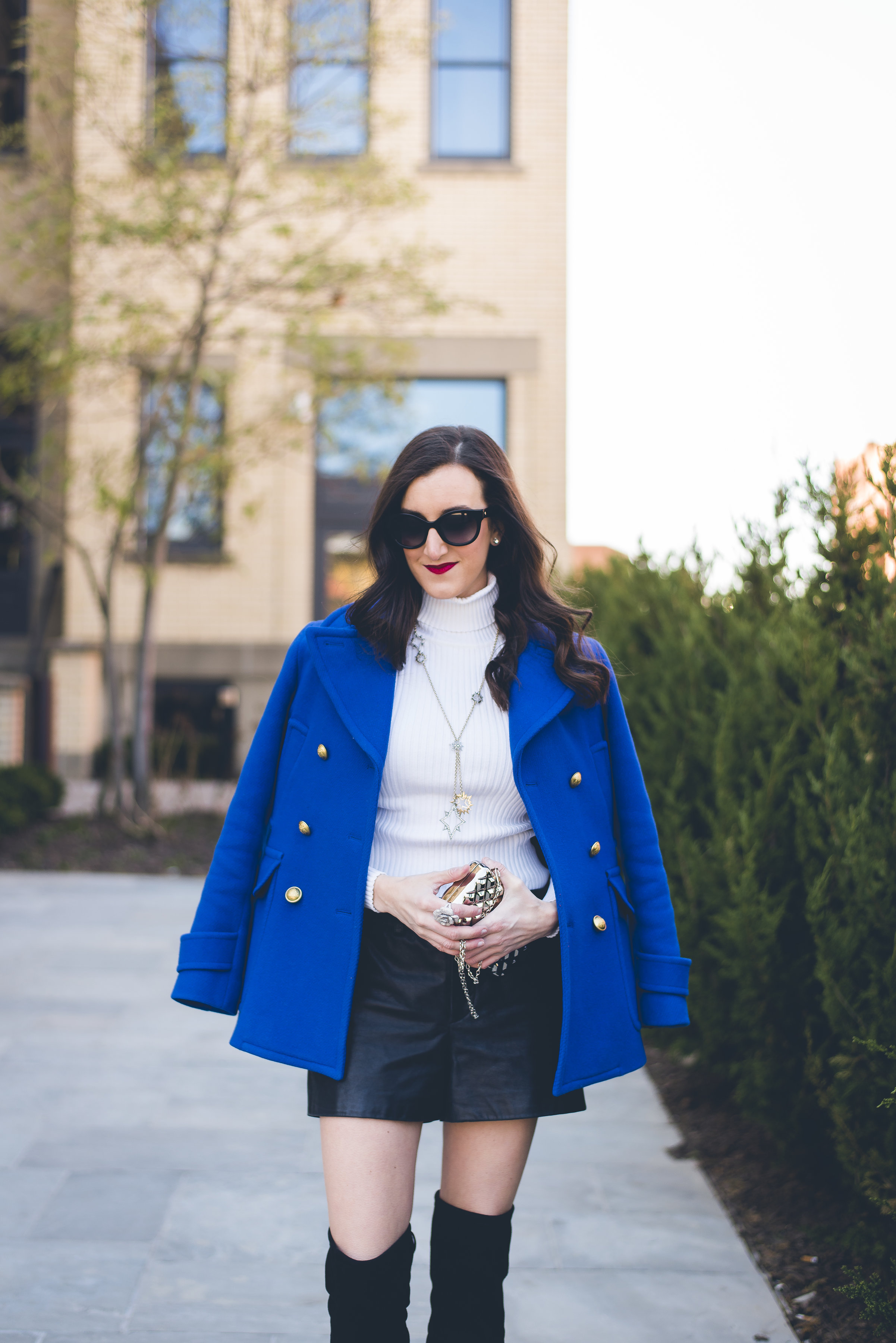 Cobalt Peacoat and a black and blue outfit