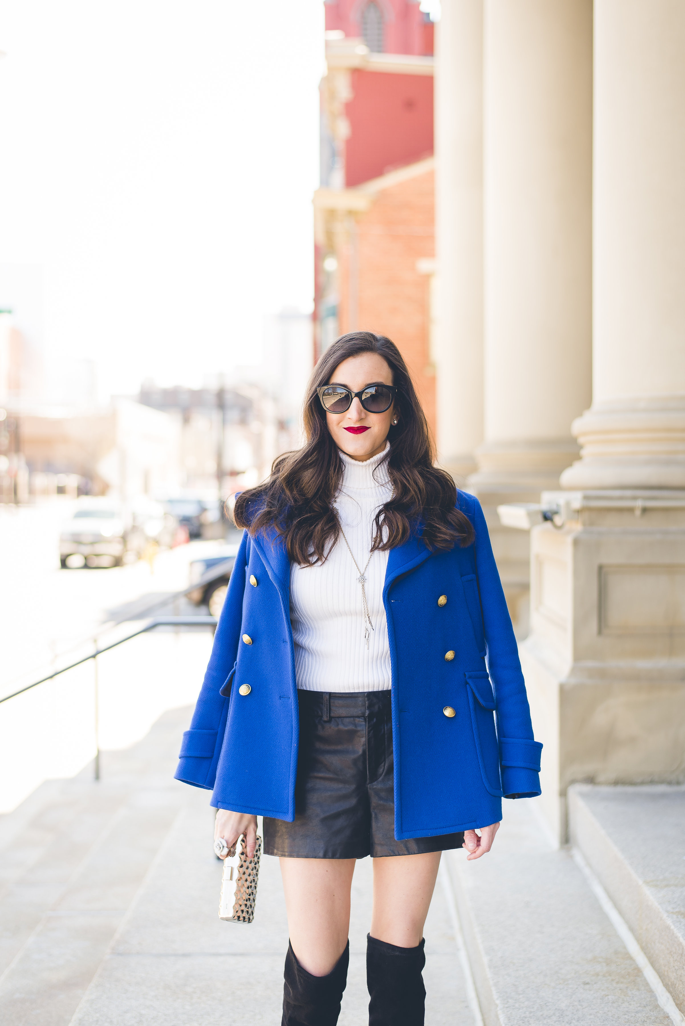 J.Crew Blue Peacoat that is black and blue
