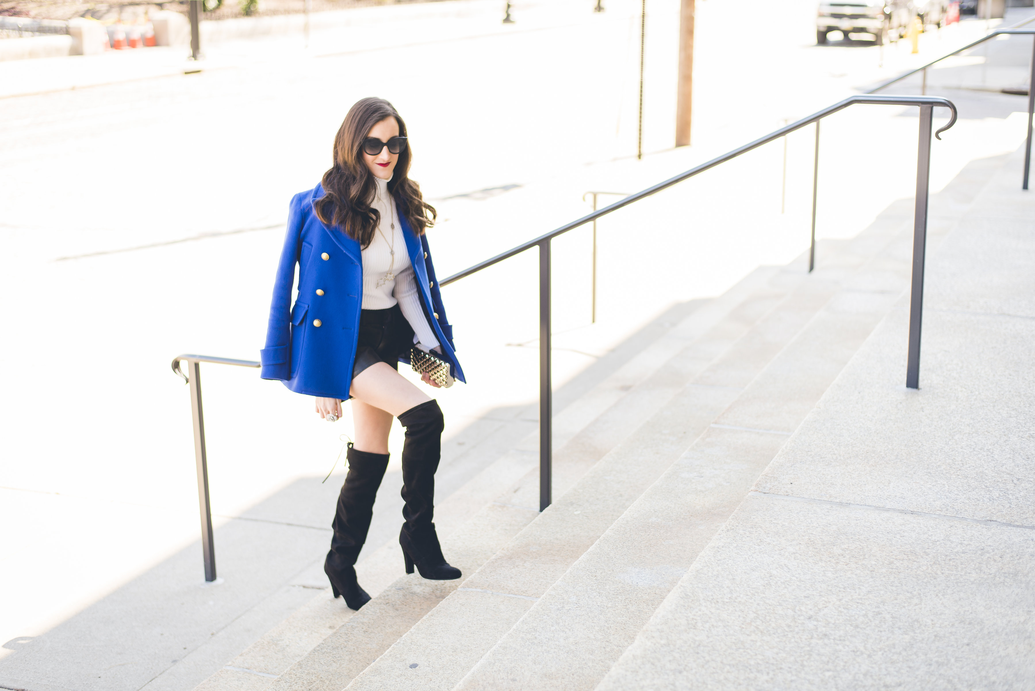 Outfits with over the knee boots and a blue coat