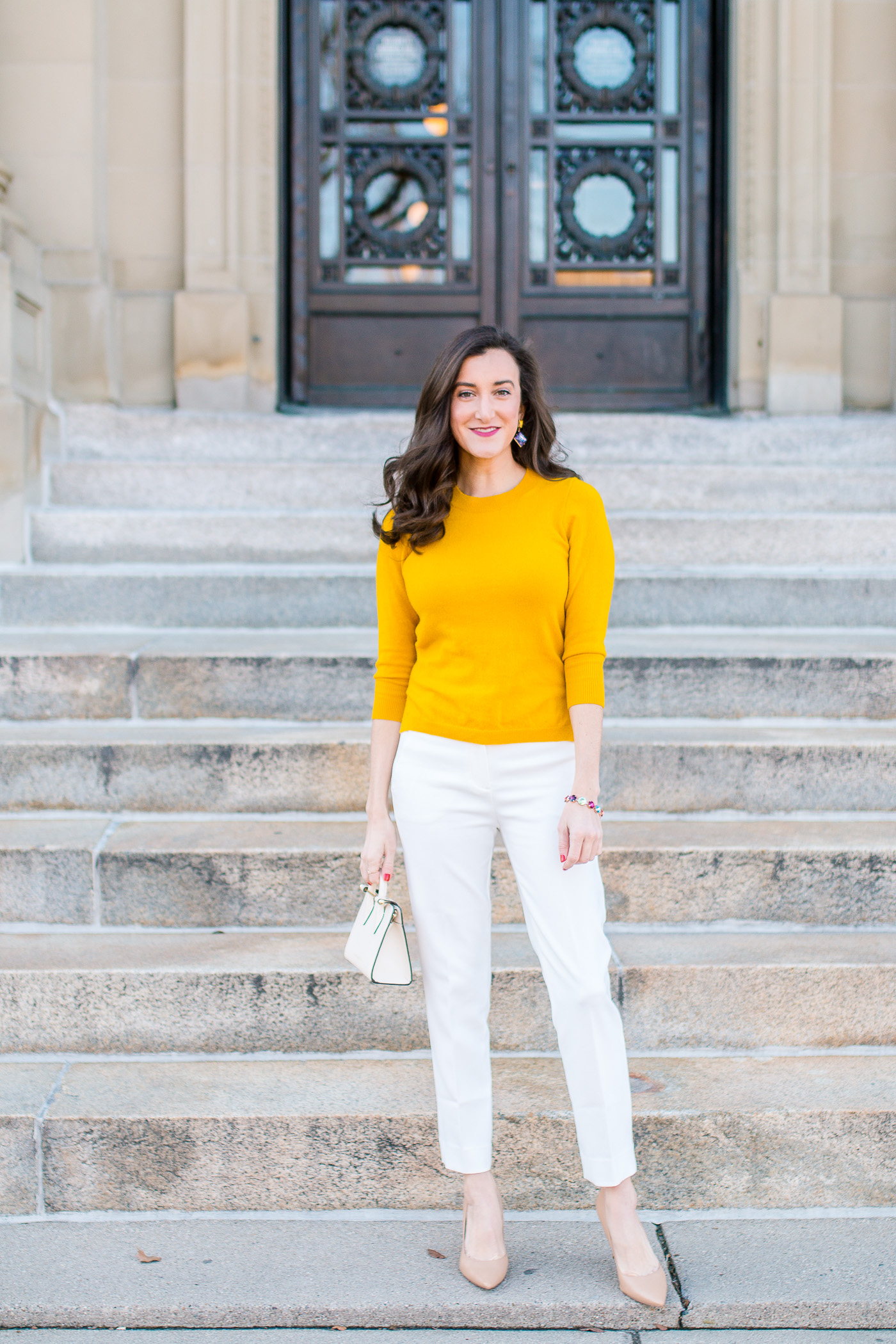 White tailored pants for women with fashion blogger Olivia Johnson