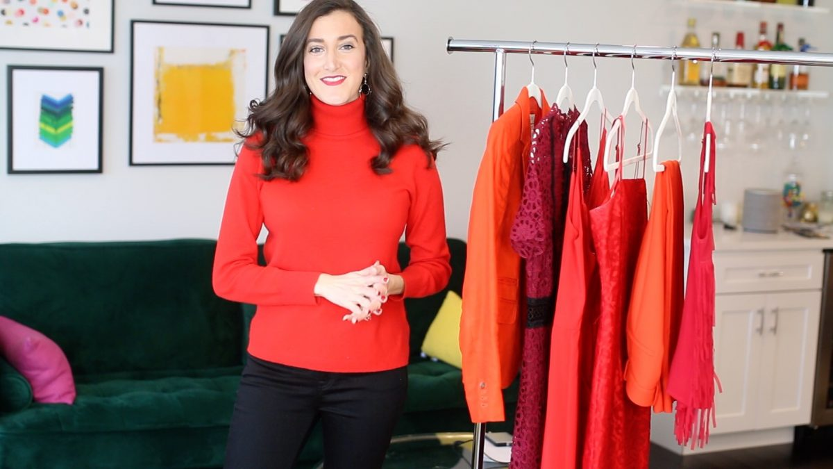 red turtleneck worn by Olivia Johnson of Baubles to Bubbles